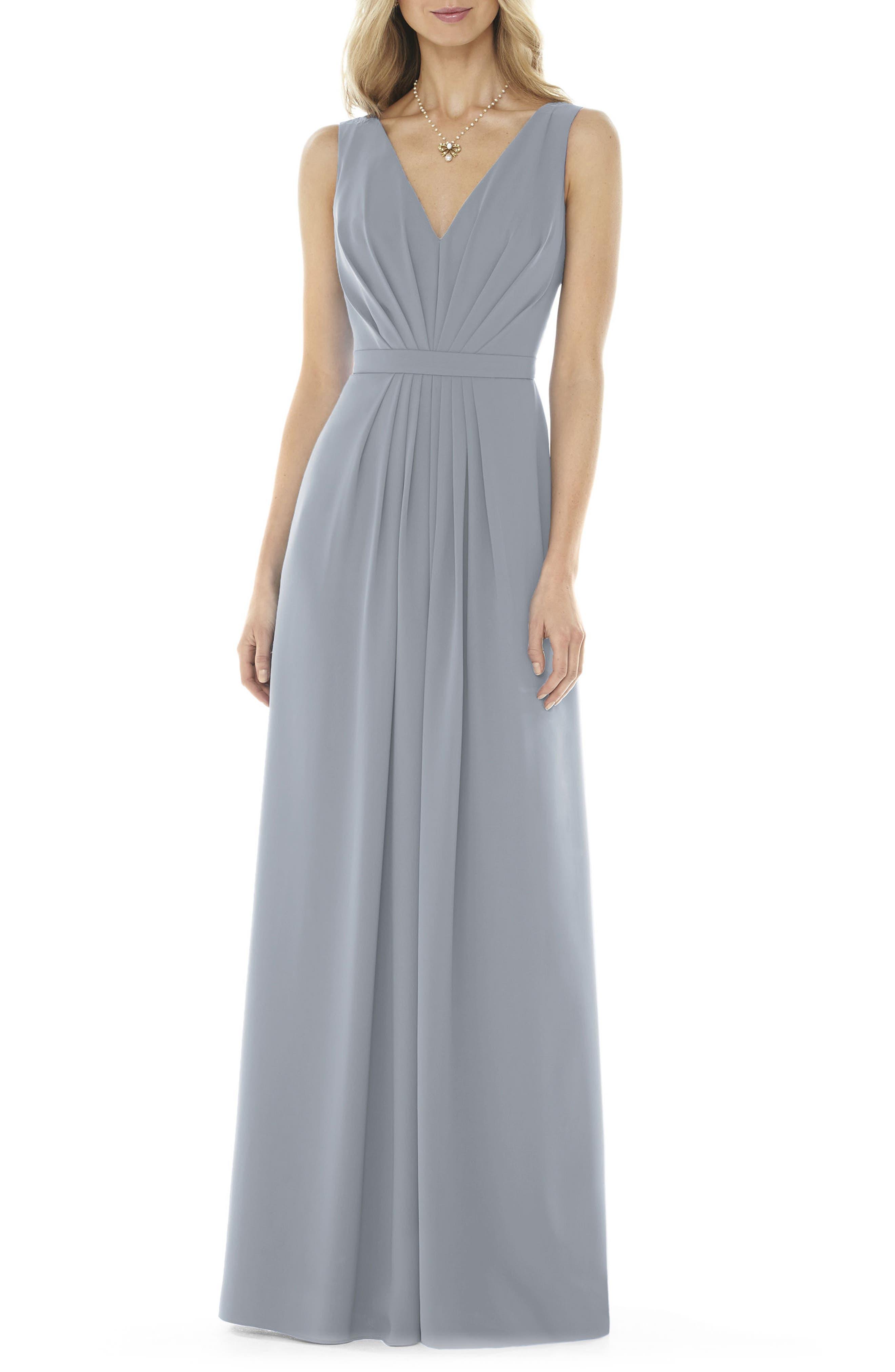 V-Neck Georgette Gown,                         Main,                         color, Platinum
