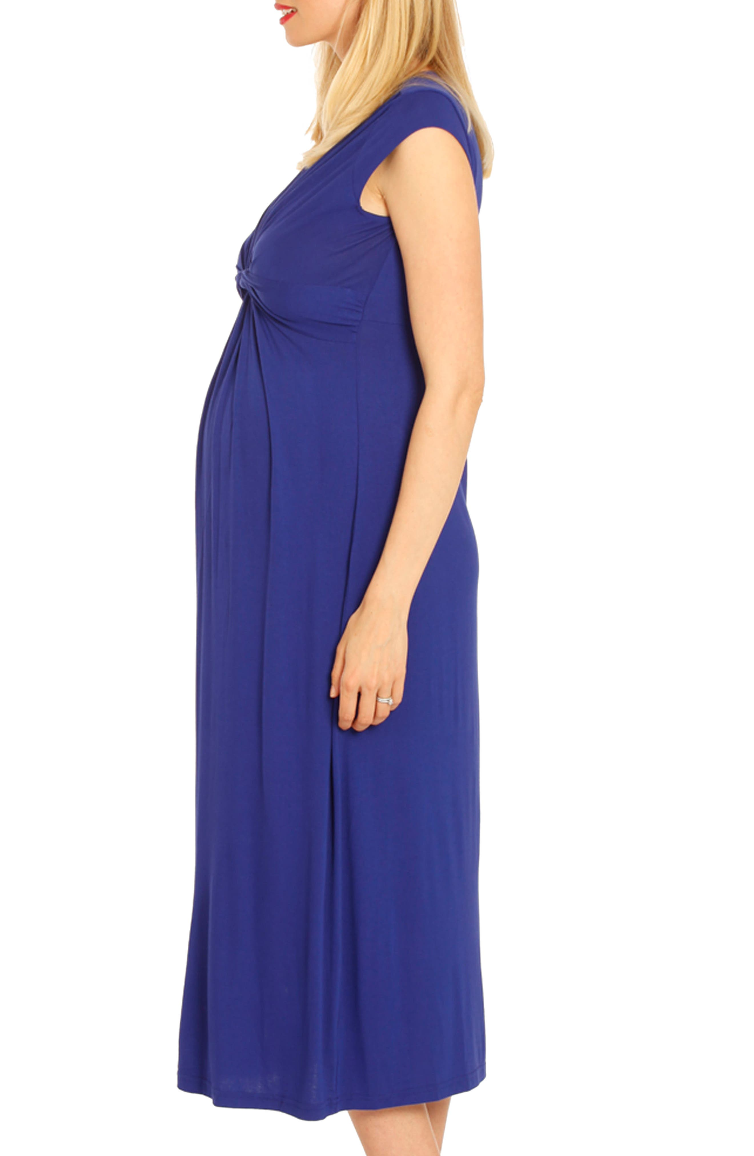 Knot Front Maternity Dress,                             Alternate thumbnail 3, color,                             Blue
