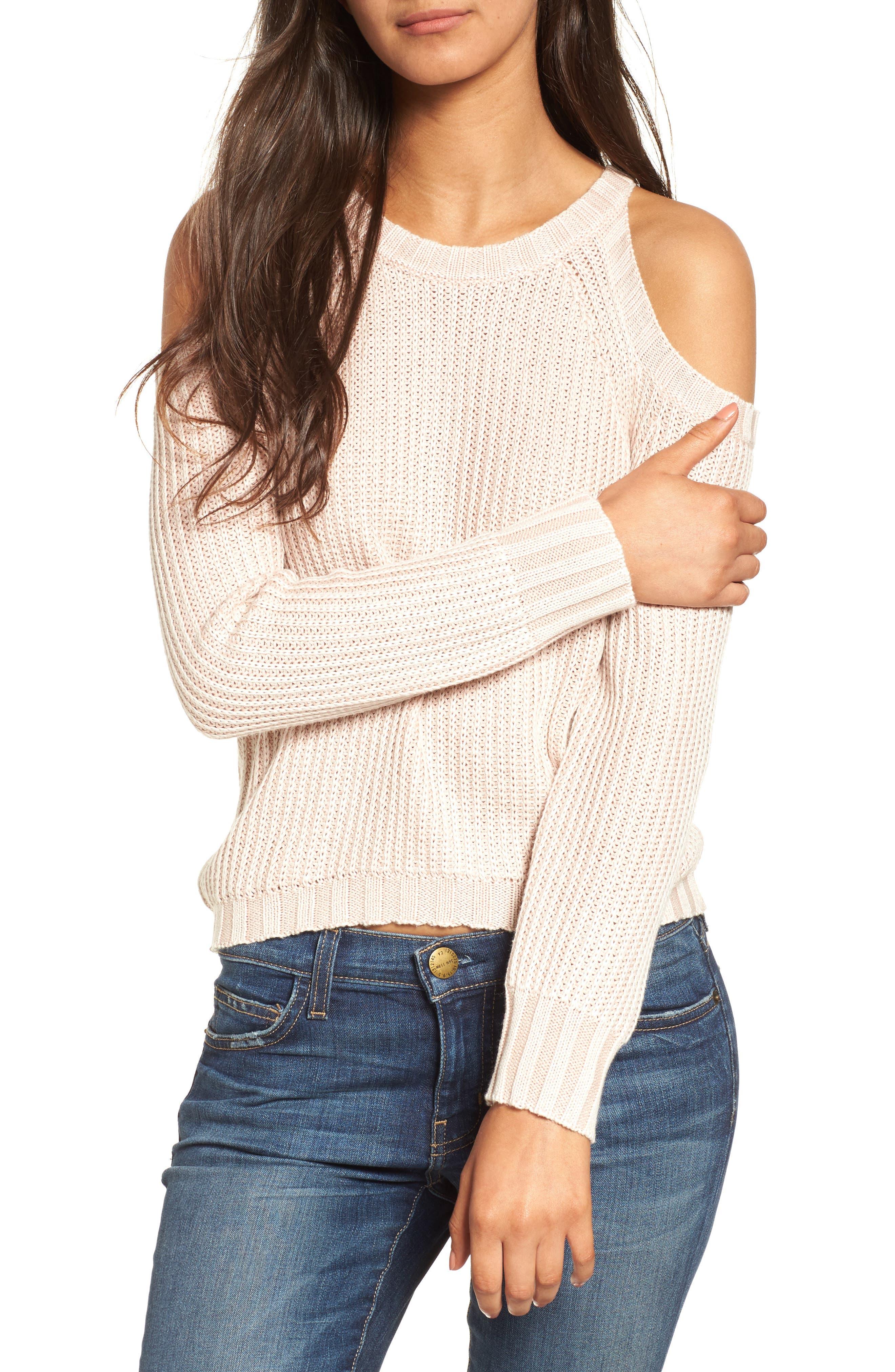 Mika Cold Shoulder Sweater,                             Main thumbnail 1, color,                             Blush