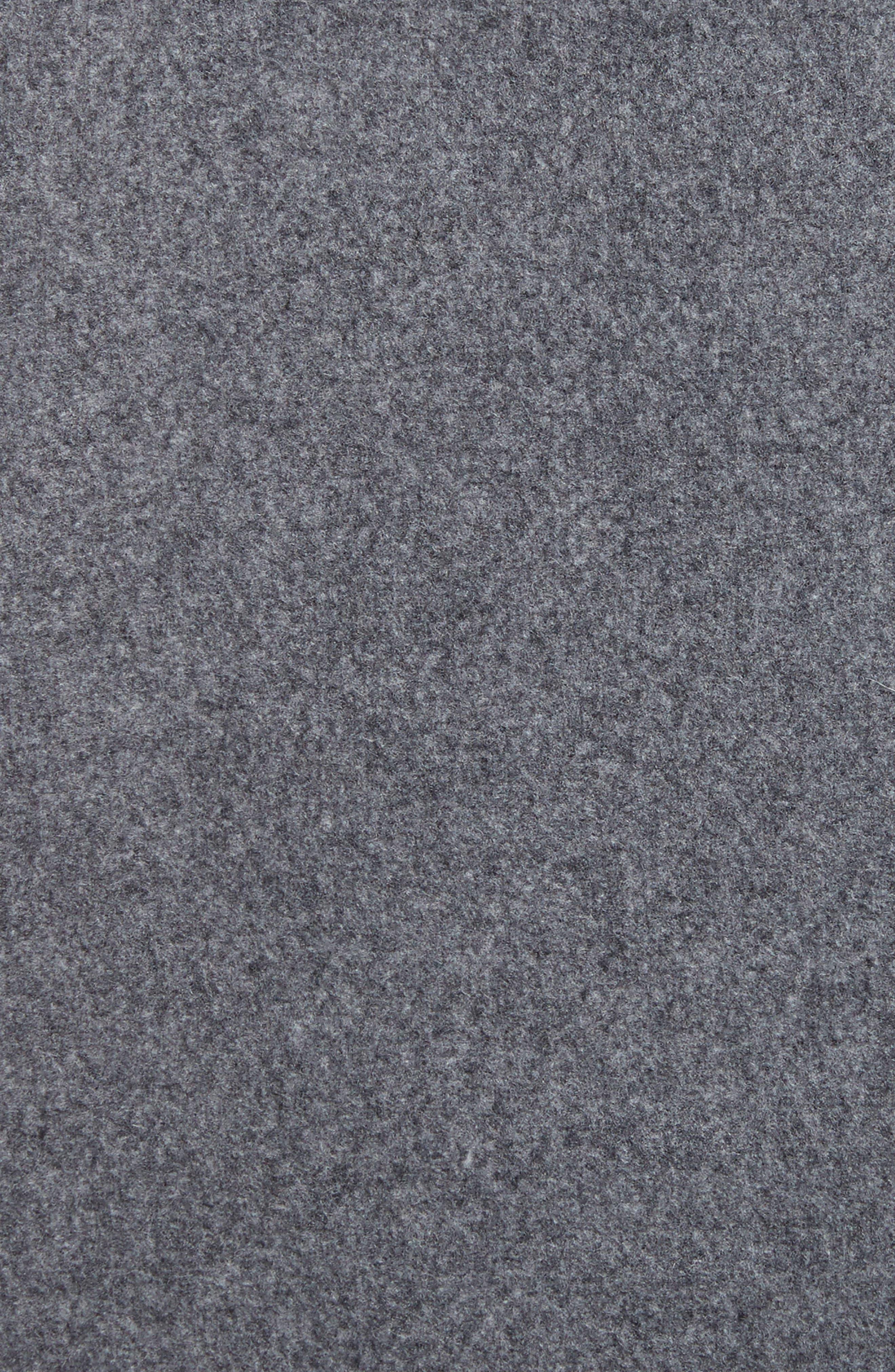 Laporta Genuine Shearling Trim Wool Blend Hooded Coat,                             Alternate thumbnail 6, color,                             Dark Grey