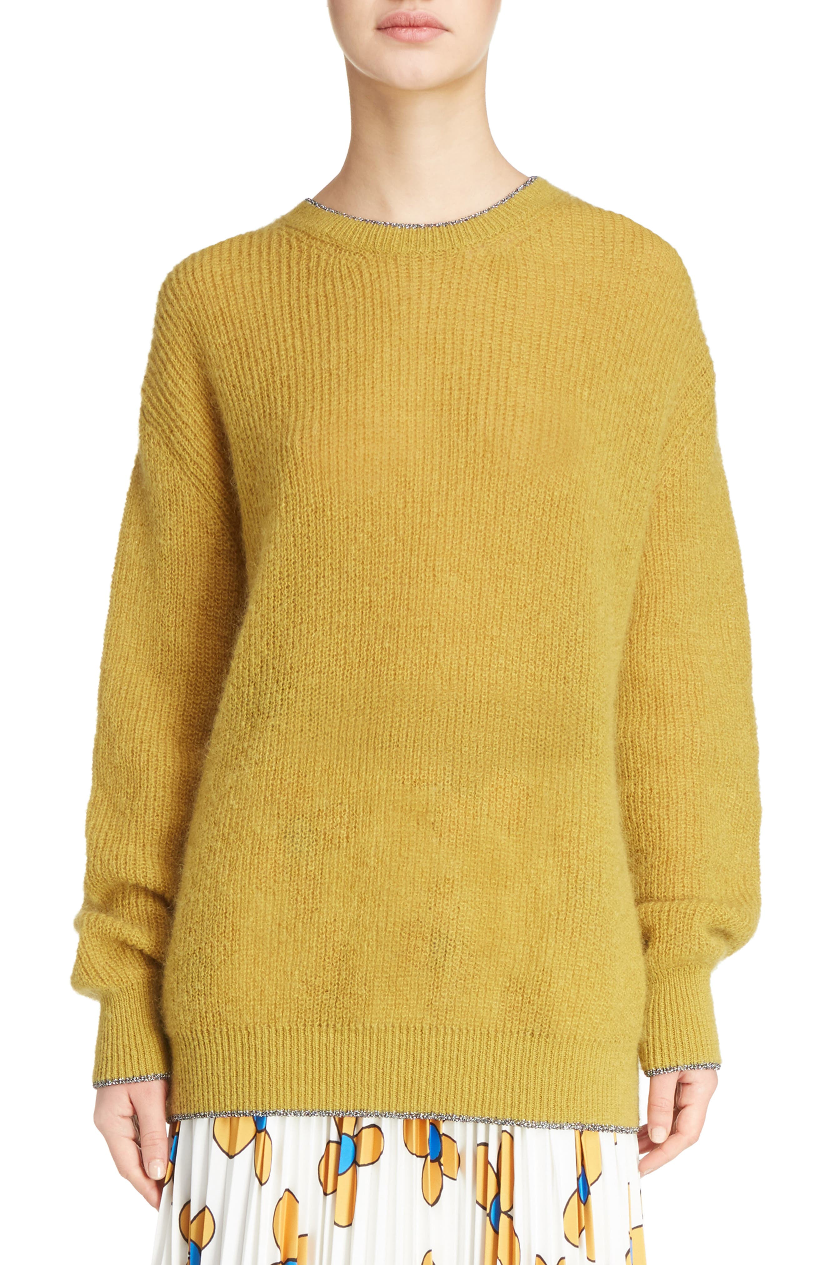 Crewneck Sweater,                         Main,                         color, Honey/Silver