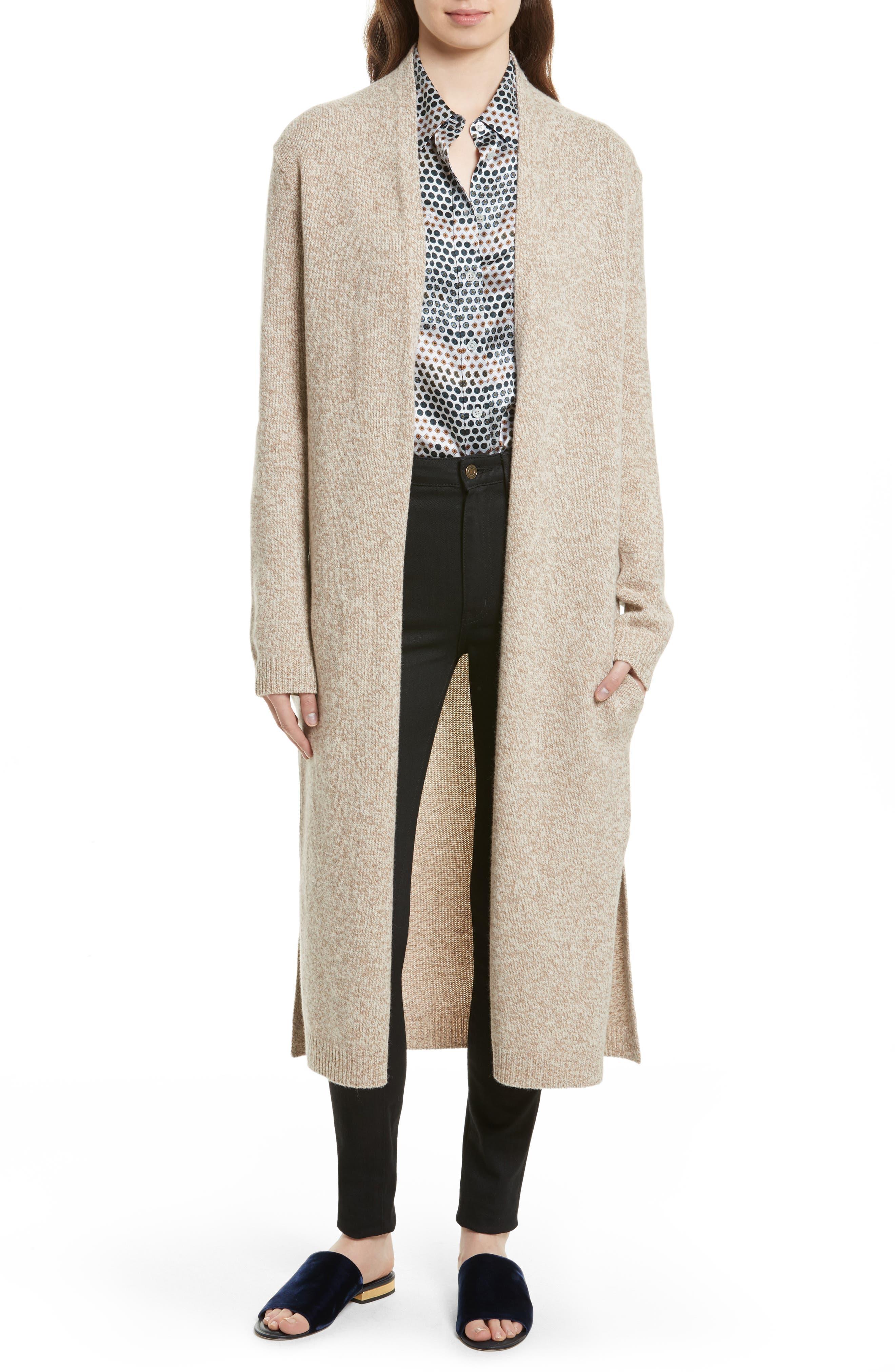 Thoren Long Wool Cardigan,                         Main,                         color, Oatmeal Multi