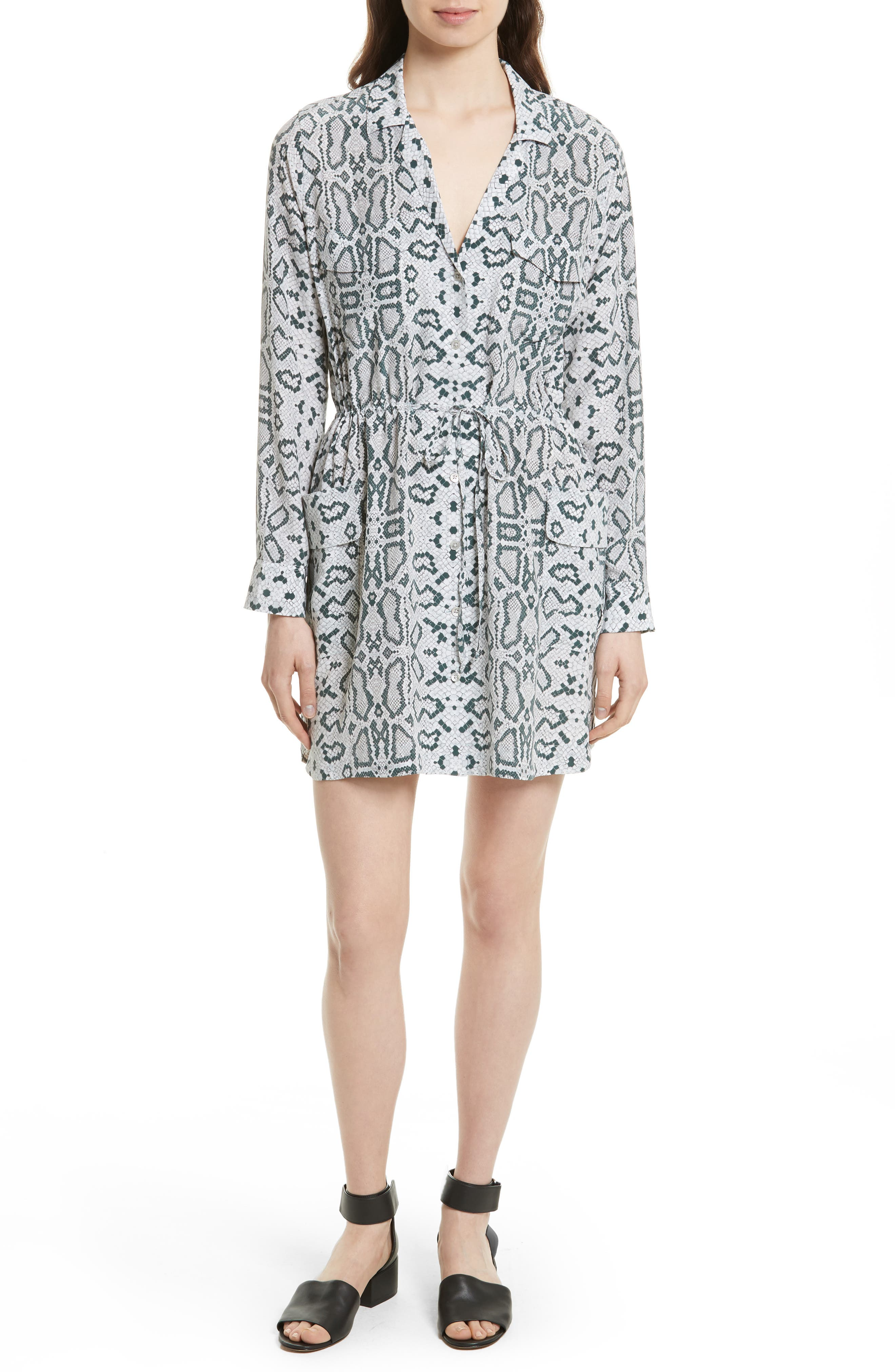 Emmanuelle Snake Print Silk Shirtdress,                         Main,                         color, Mineral Grey Multi