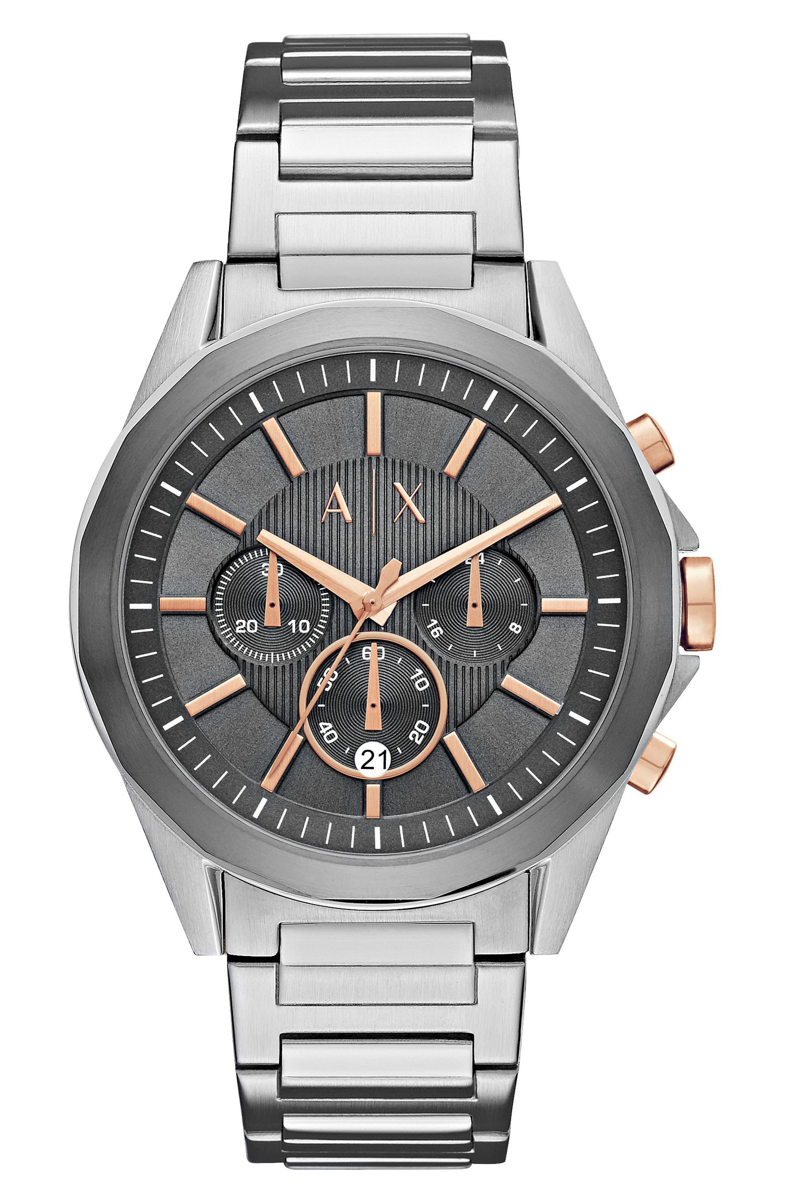 Chronograph Bracelet Watch, 44mm,                         Main,                         color, Gunmetal/ Silver
