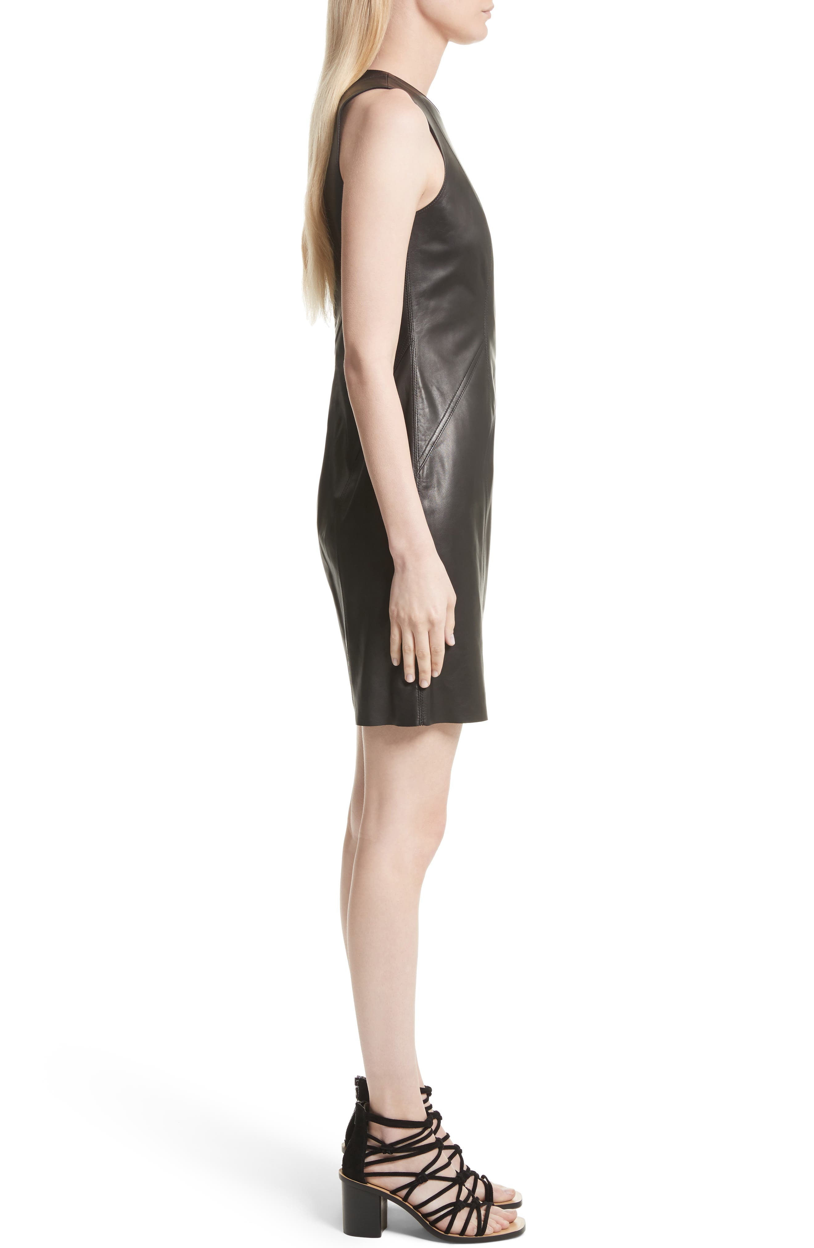 Loxley Leather Dress,                             Alternate thumbnail 3, color,                             Black