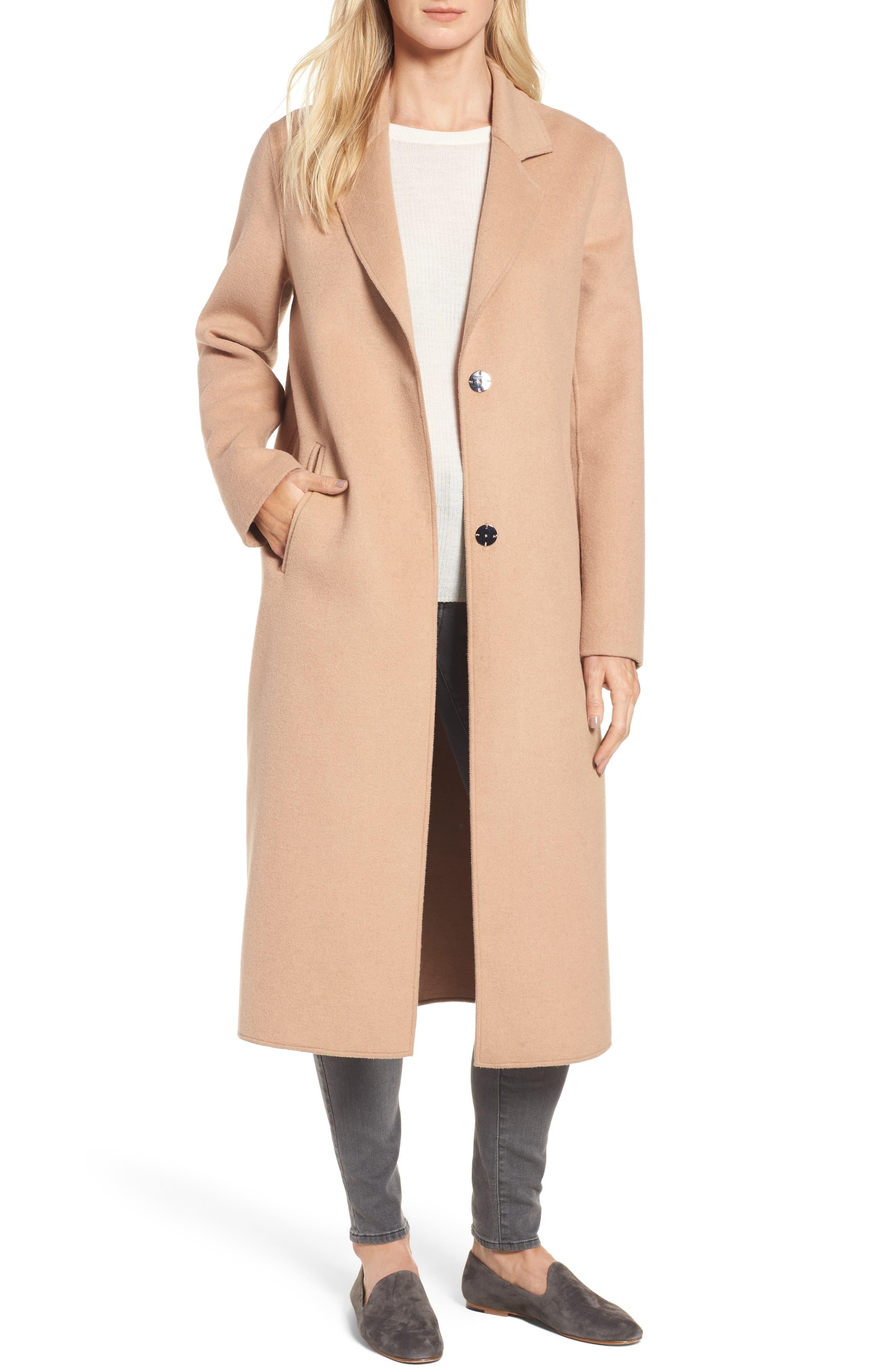 Double Face Wool Blend Long Coat,                         Main,                         color, Camel