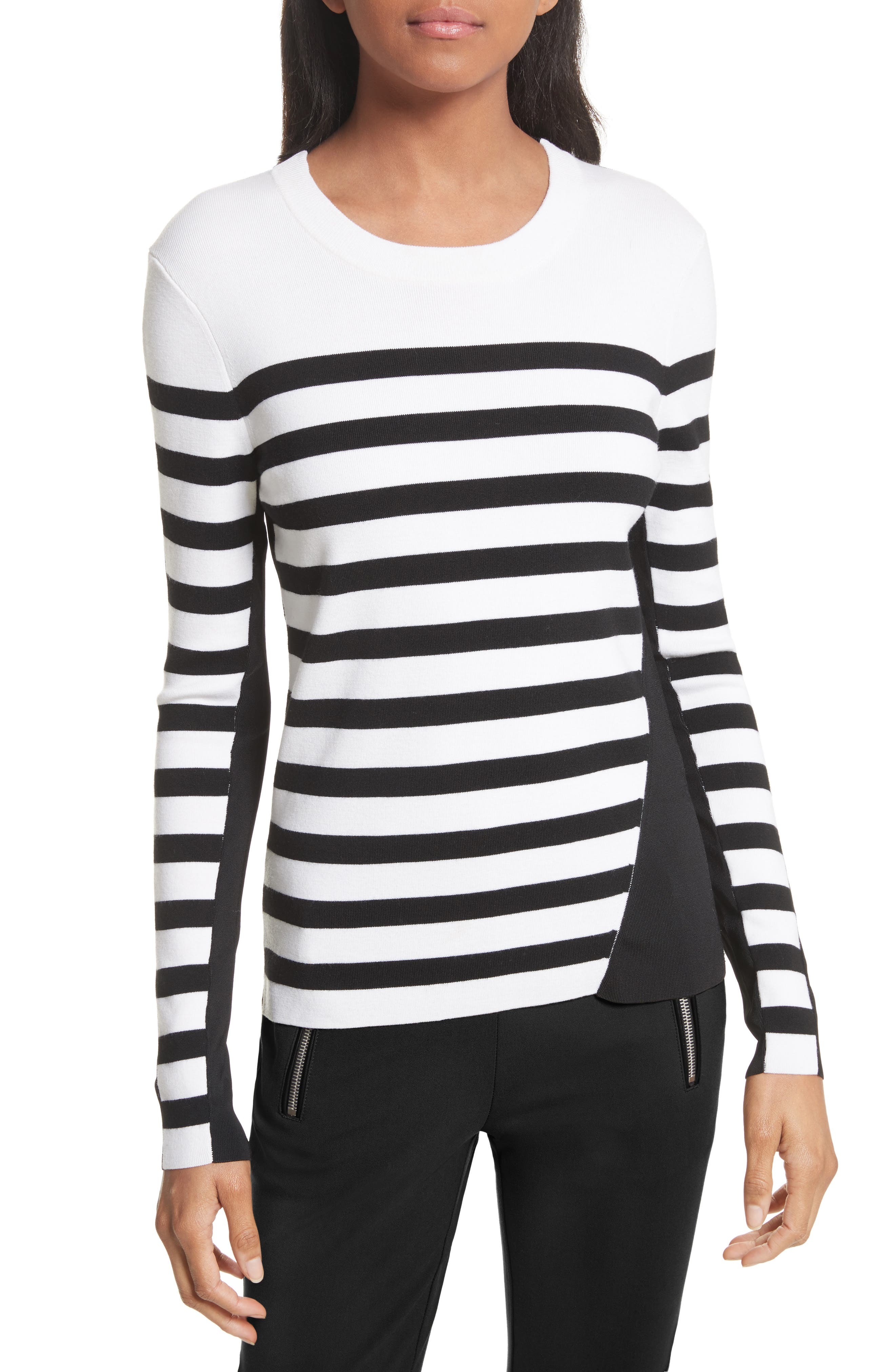 Cecilee Stripe Merino Wool Blend Pullover,                         Main,                         color, Ivory
