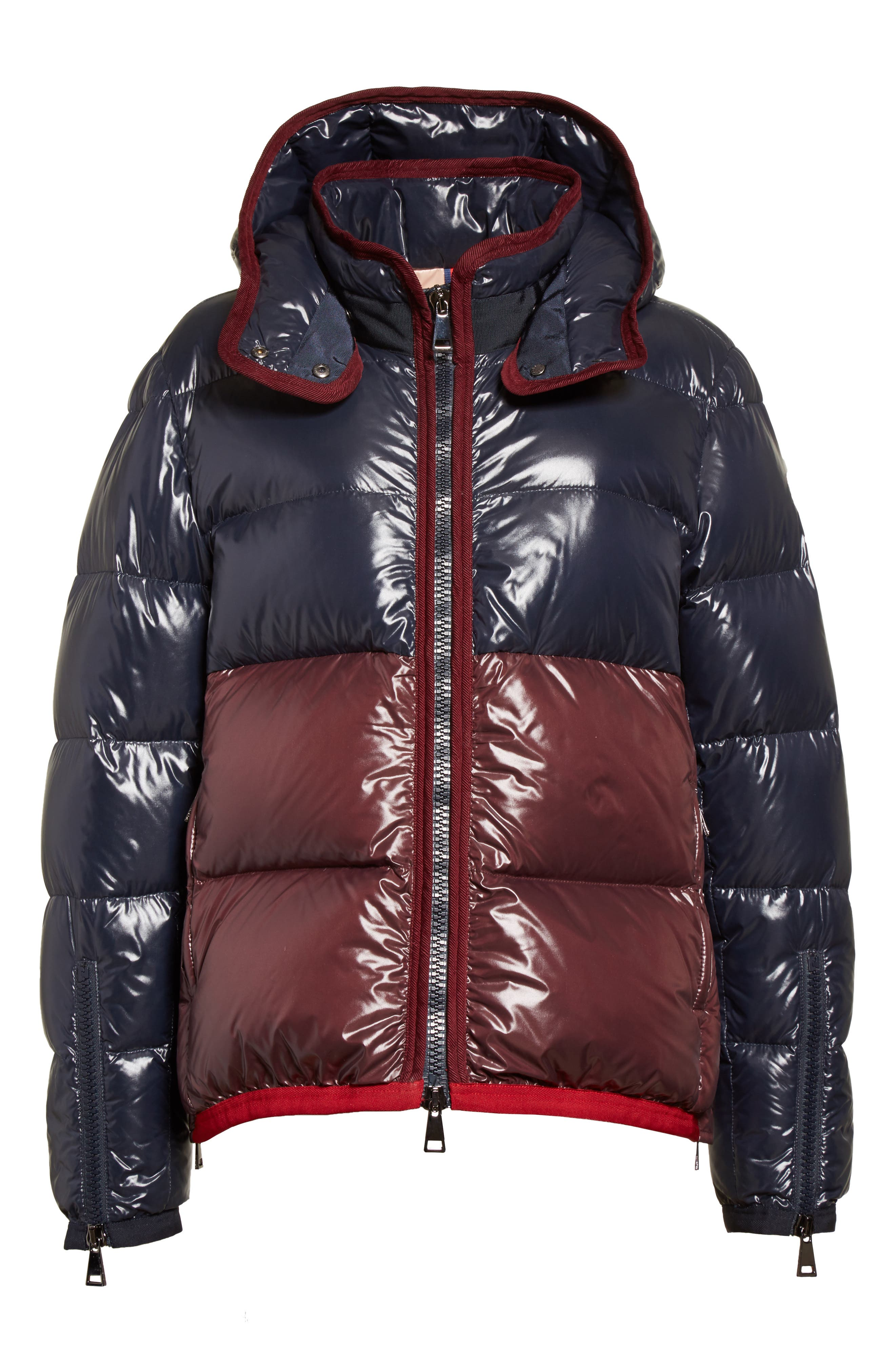 Cotinus Hooded Down Puffer Jacket,                             Alternate thumbnail 6, color,                             Navy/ Burgundy