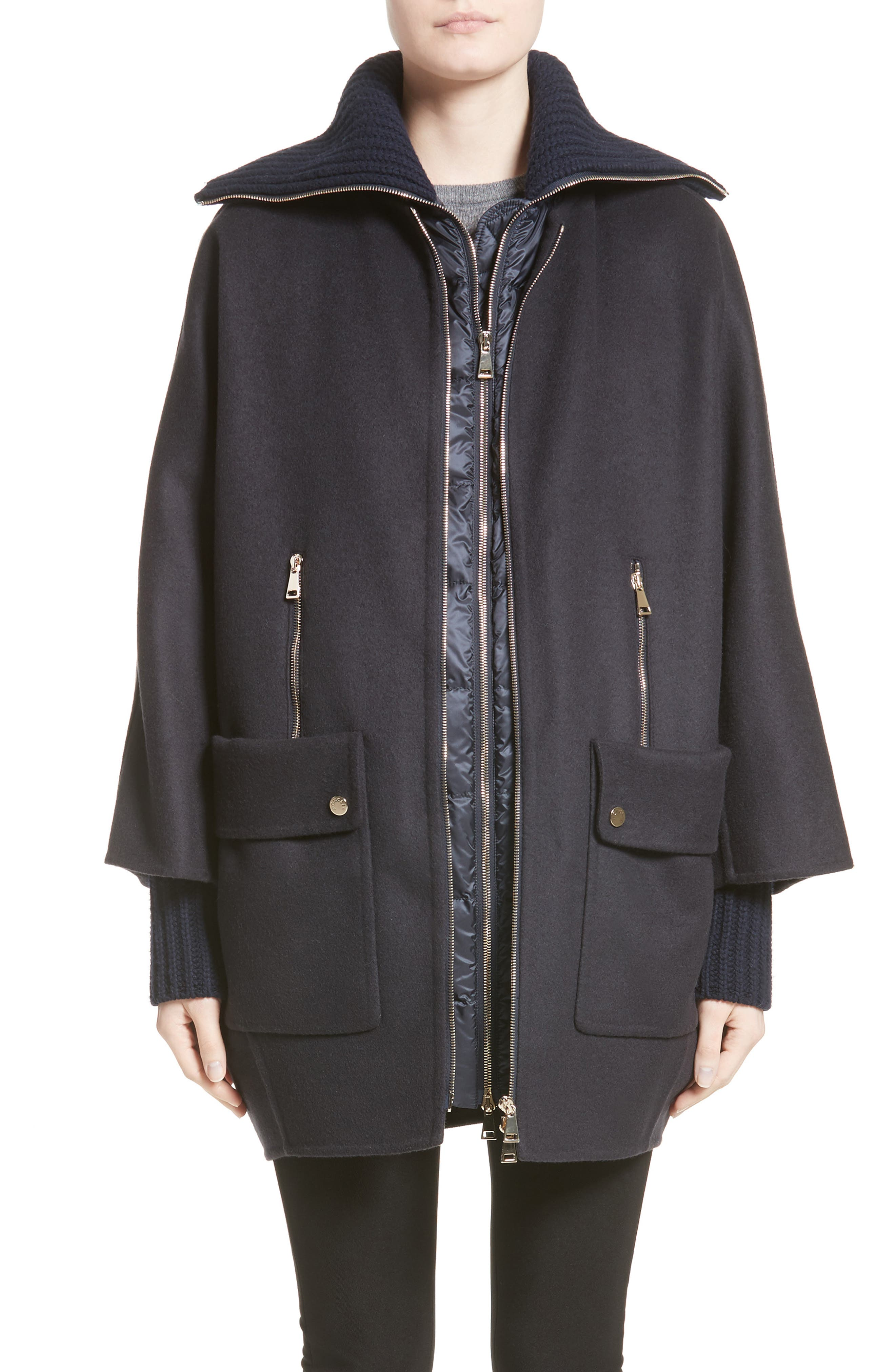 Moncler Acanthus Wool & Cashmere Coat with Removable Down Puffer Layer