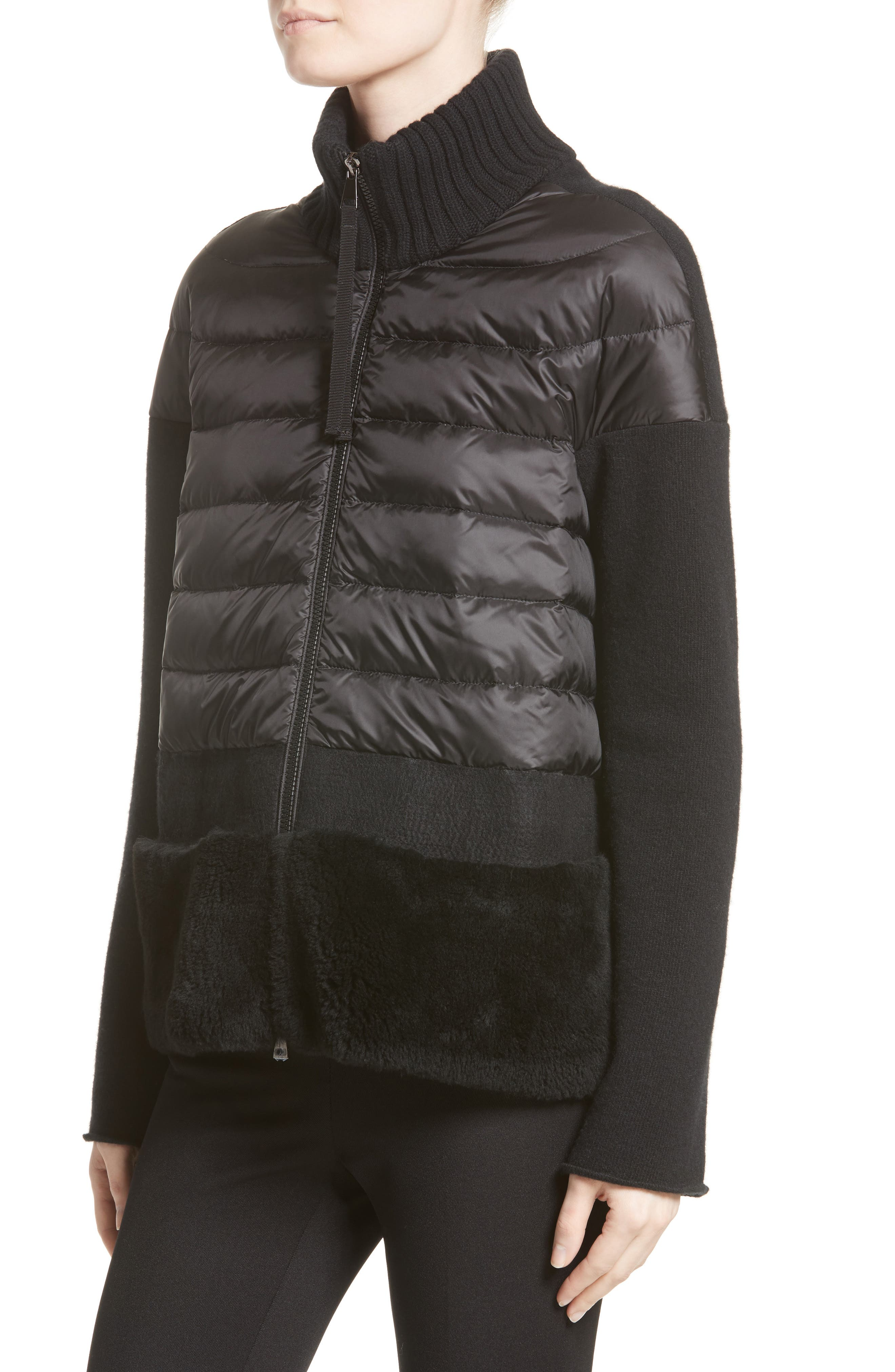 Alternate Image 4  - Moncler Genuine Shearling Trim Quilted Cardigan