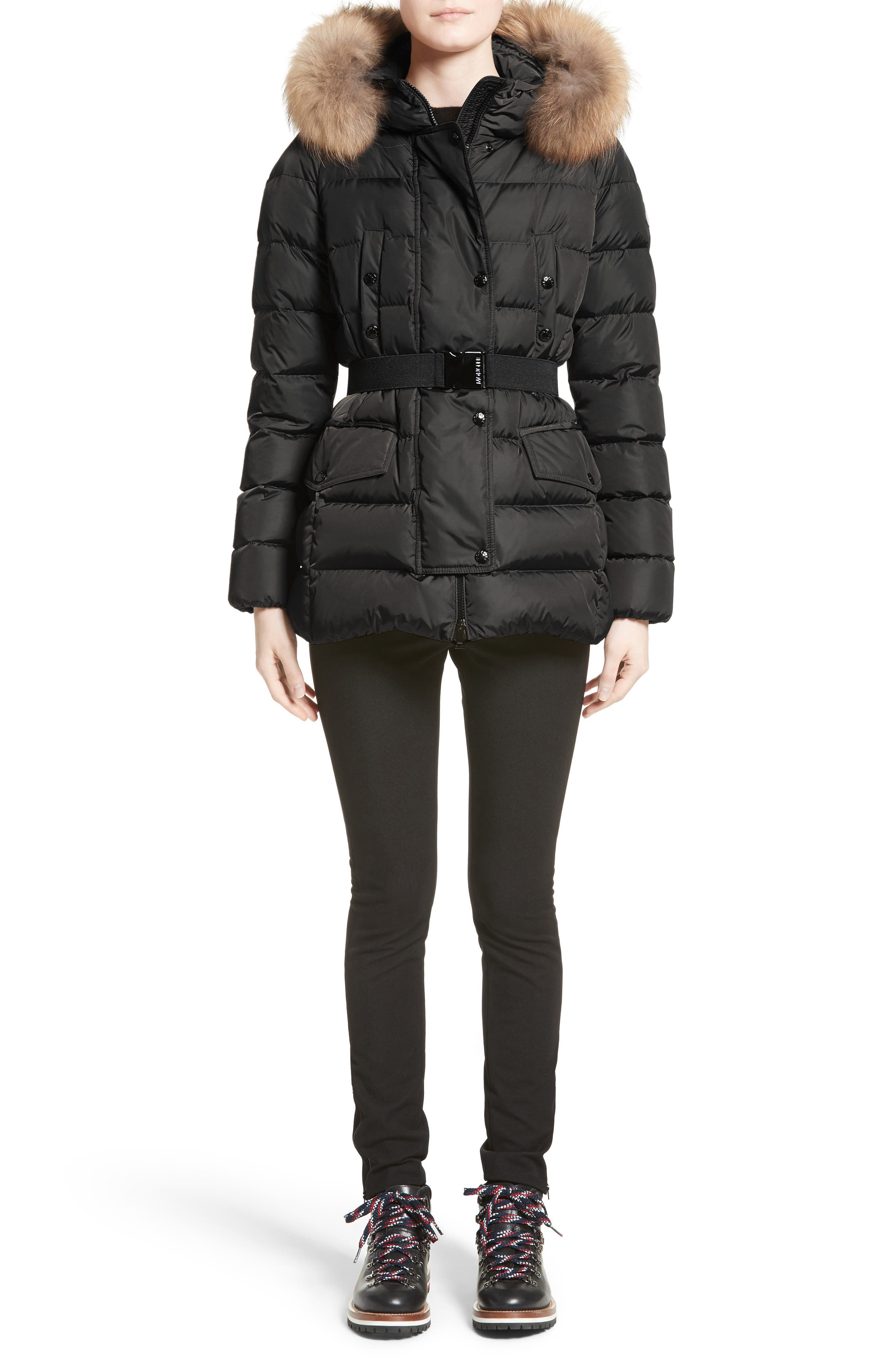 Clio Belted Down Puffer Coat with Removable Genuine Fox Fur Trim,                             Alternate thumbnail 7, color,                             Black