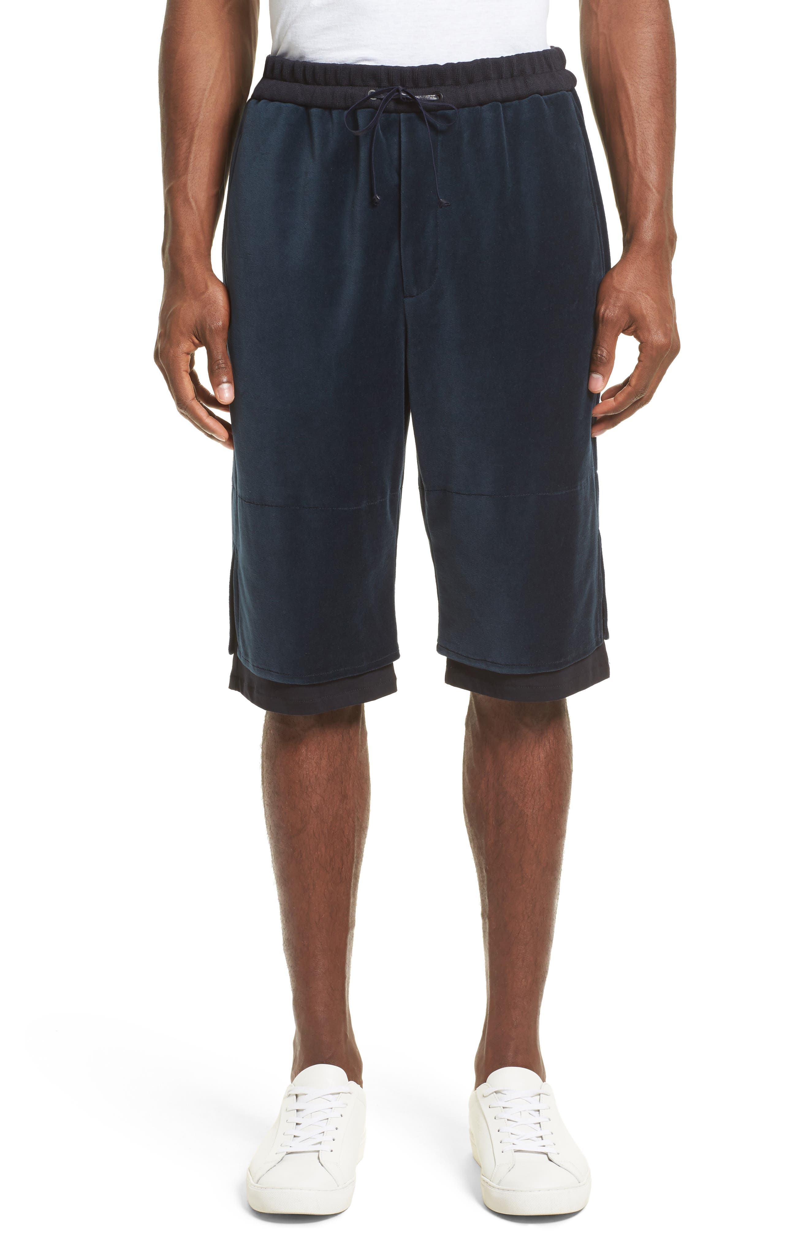 Double Layer Shorts,                         Main,                         color, Navy