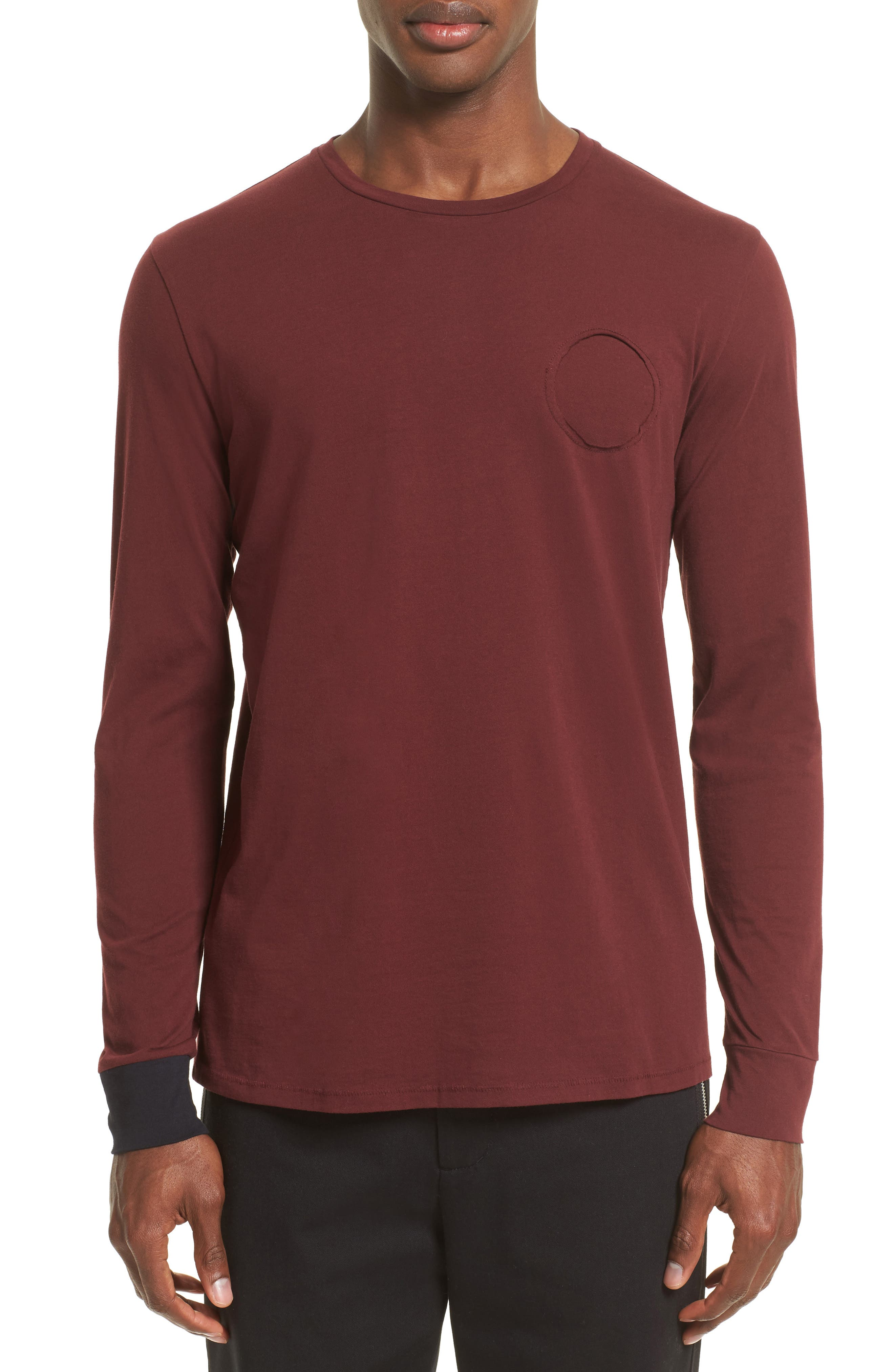 Contrast Cuff T-Shirt,                         Main,                         color, Maroon