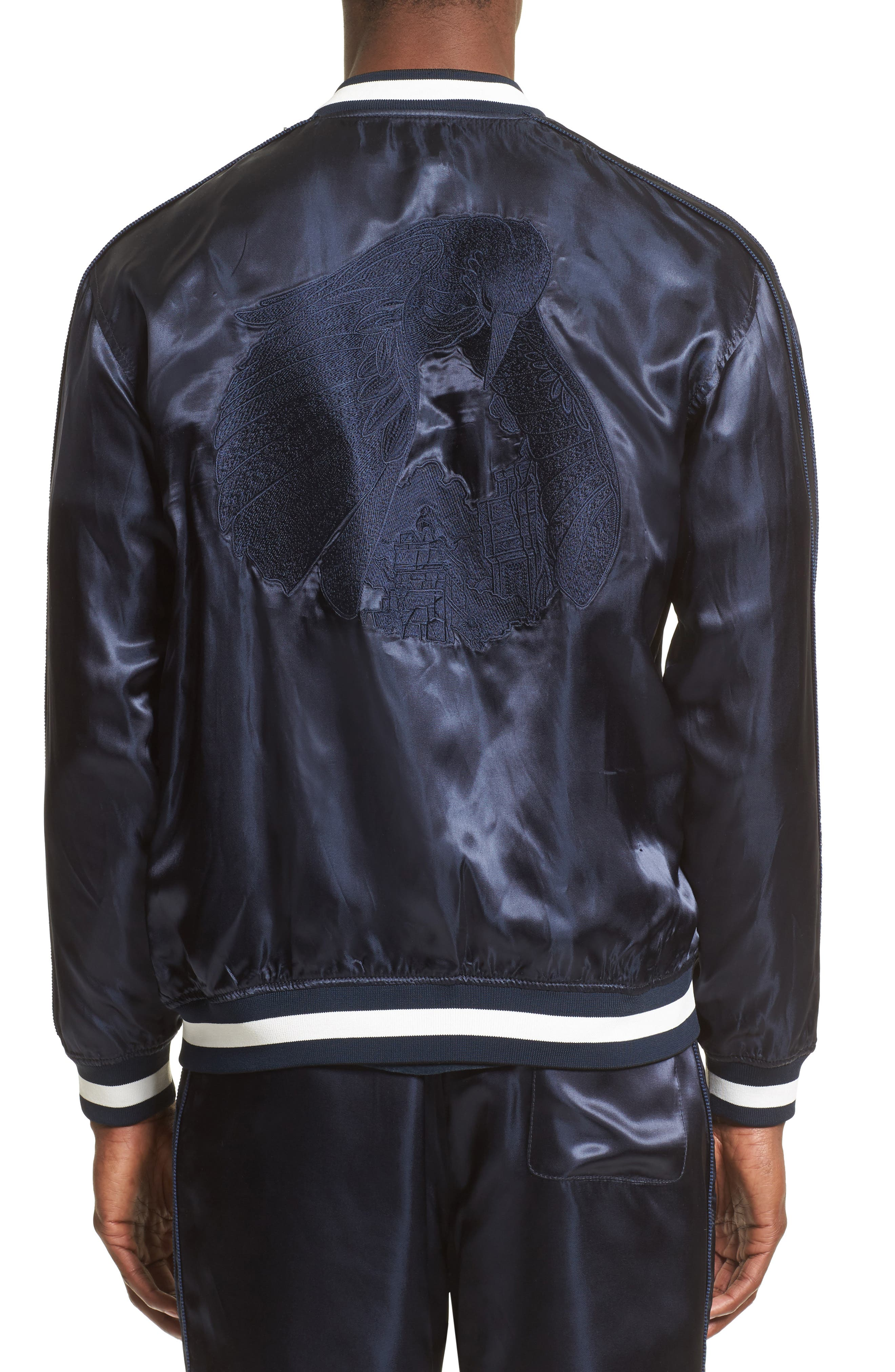 Reversible Baseball Jacket,                             Alternate thumbnail 3, color,                             Black