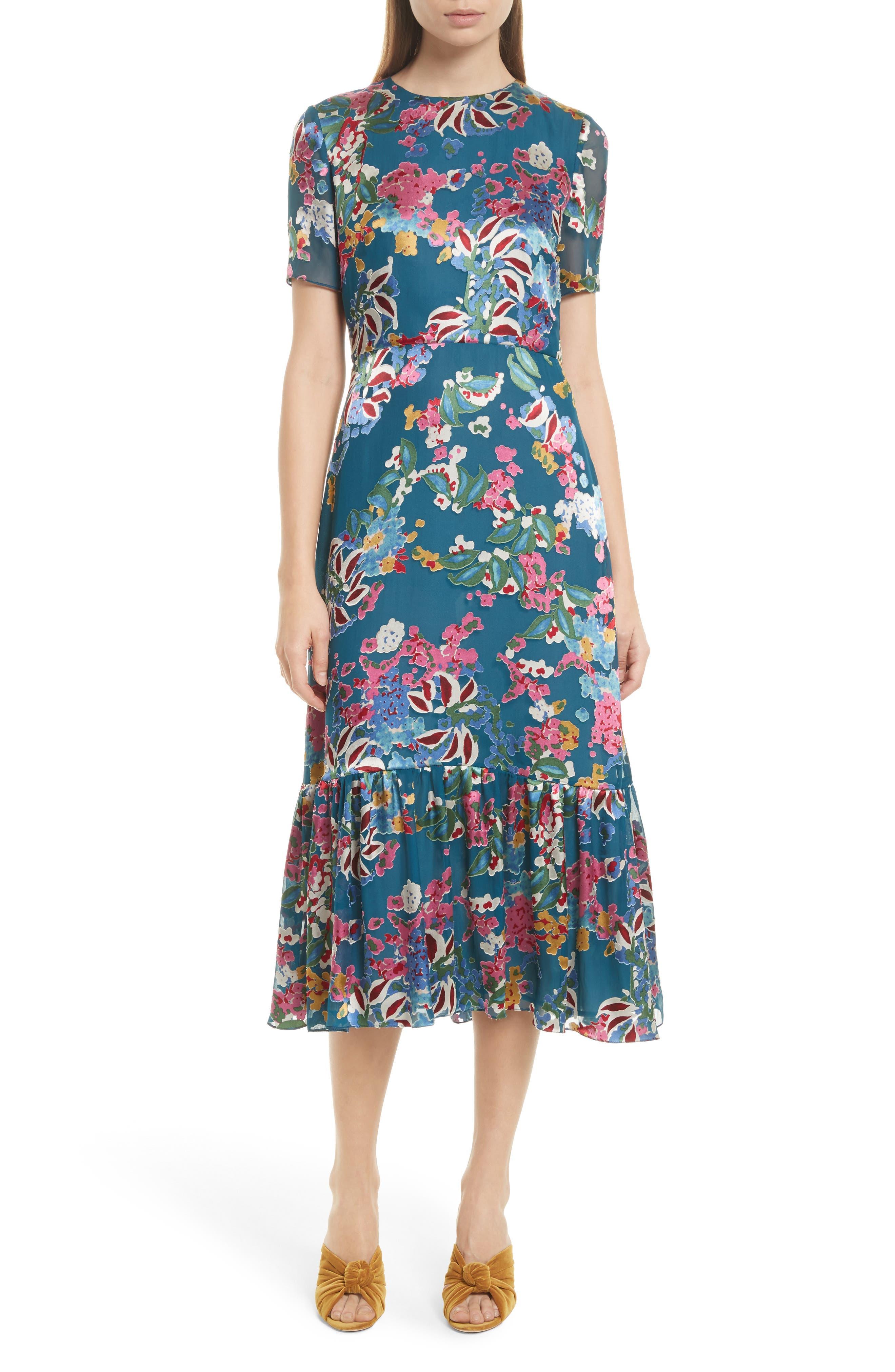 Main Image - SALONI Lorna Print Ruffle Hem Midi Dress