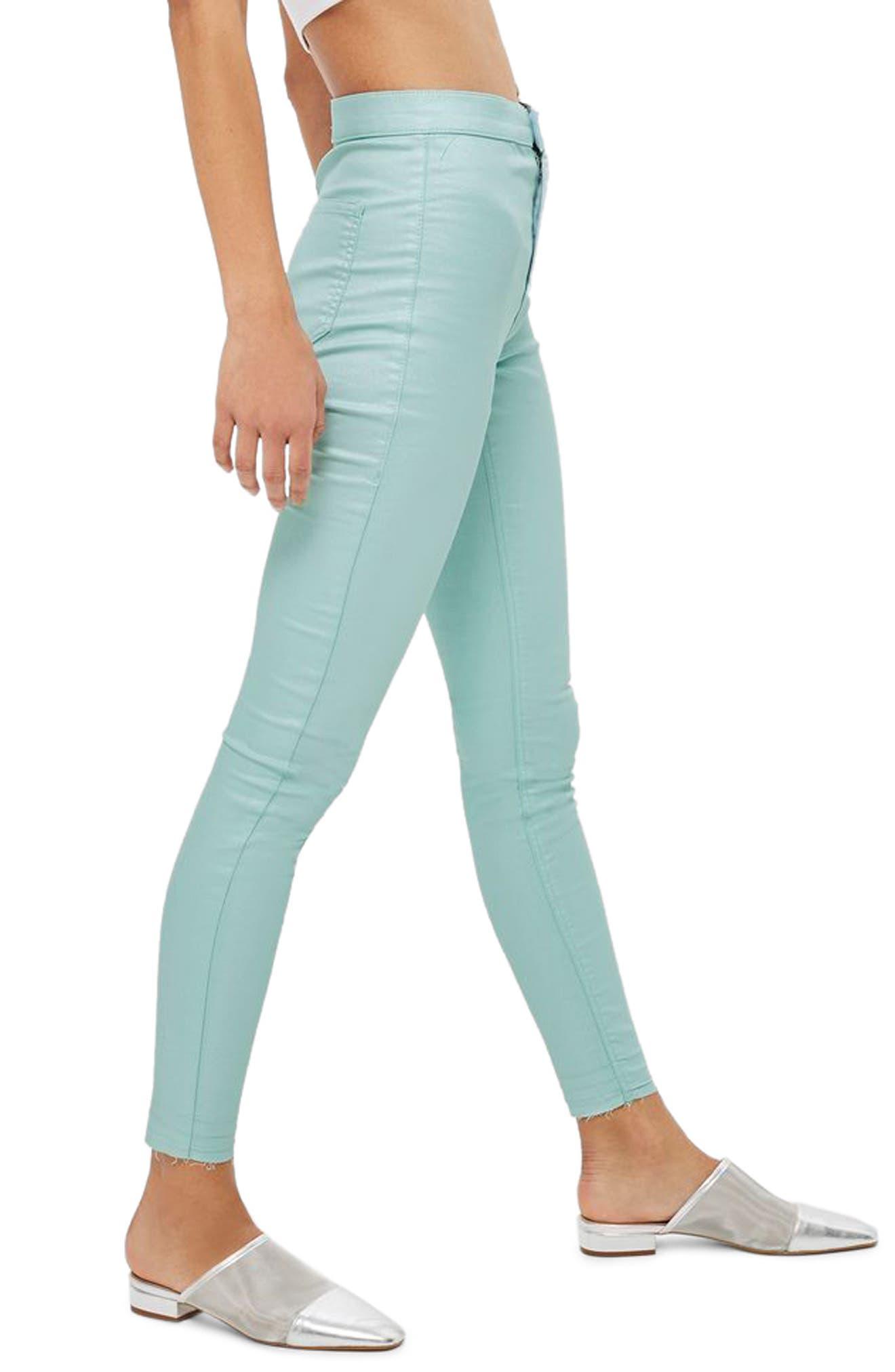 Joni Shimmer Skinny Jeans,                         Main,                         color, Mint