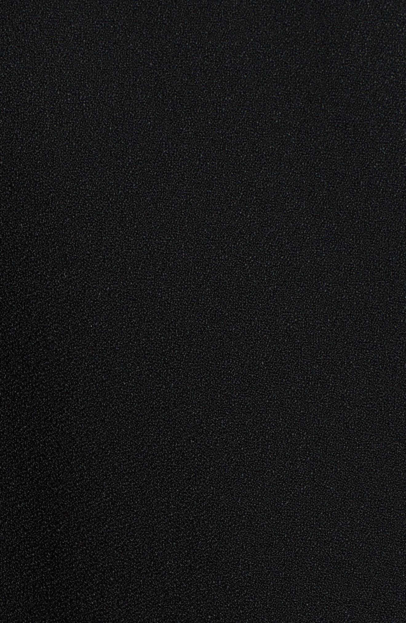 Guipure Lace Inset Crepe Dress,                             Alternate thumbnail 5, color,                             Black