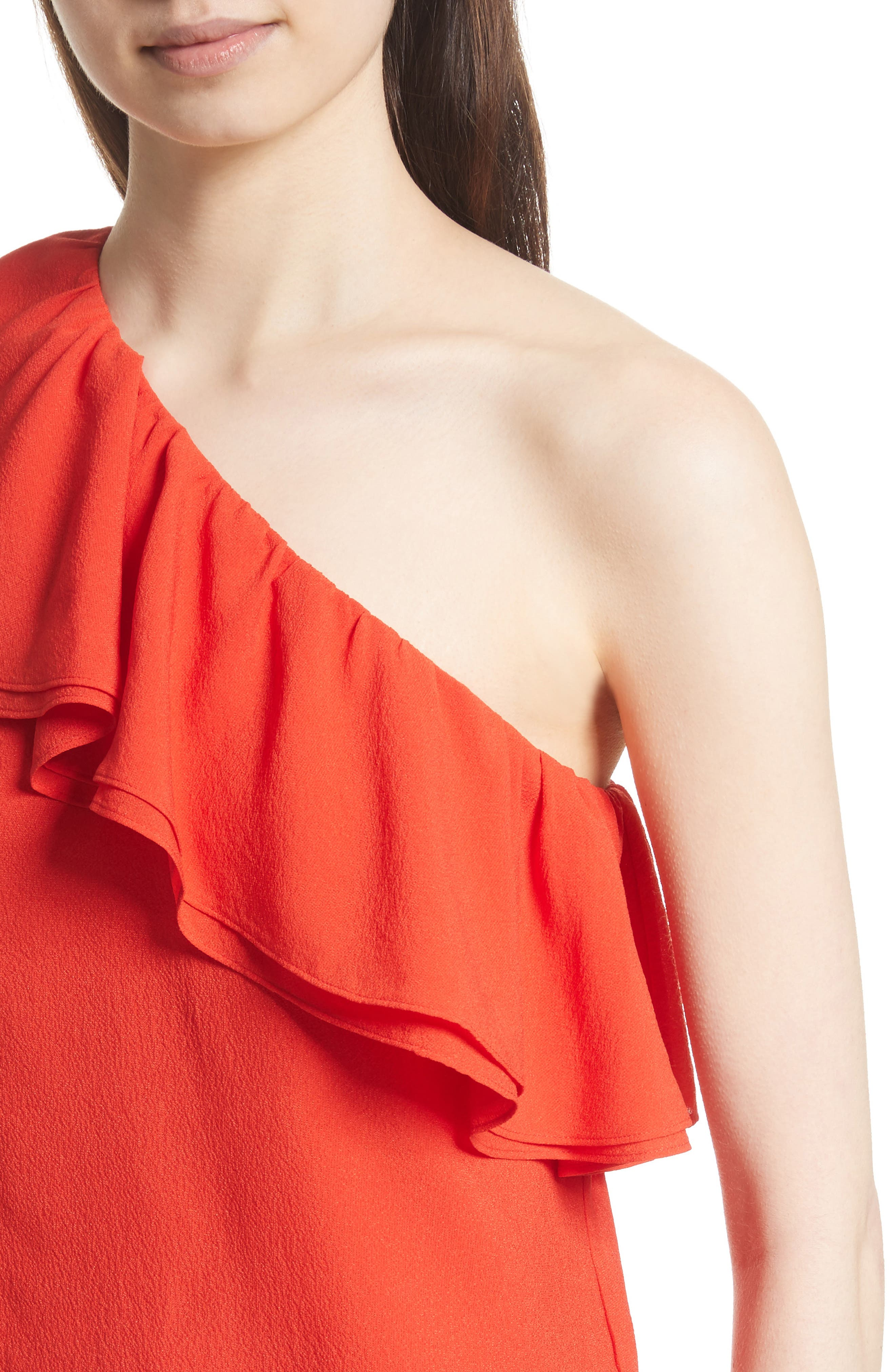One-Shoulder Silk Top,                             Alternate thumbnail 4, color,                             Candy Apple