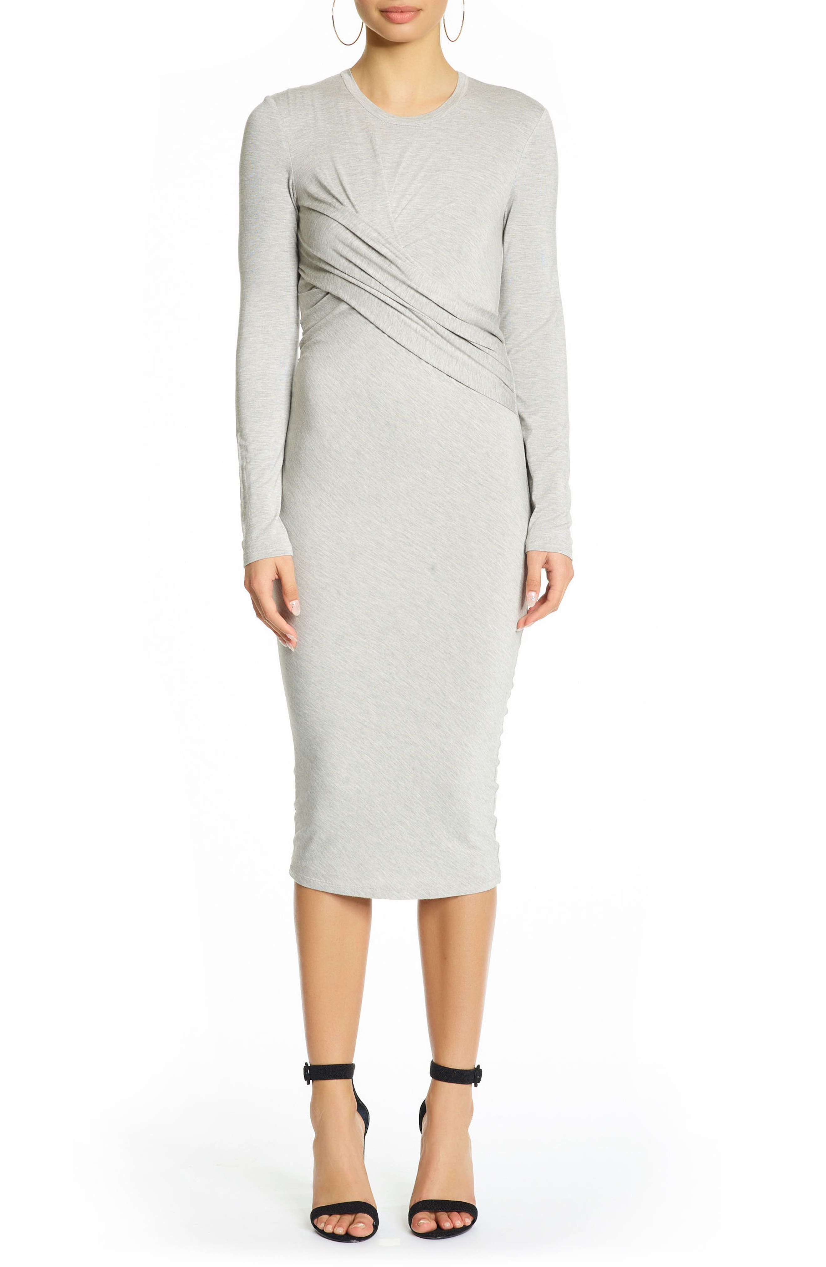 Long Sleeve Twist Dress,                             Main thumbnail 1, color,                             Medium Heather Grey