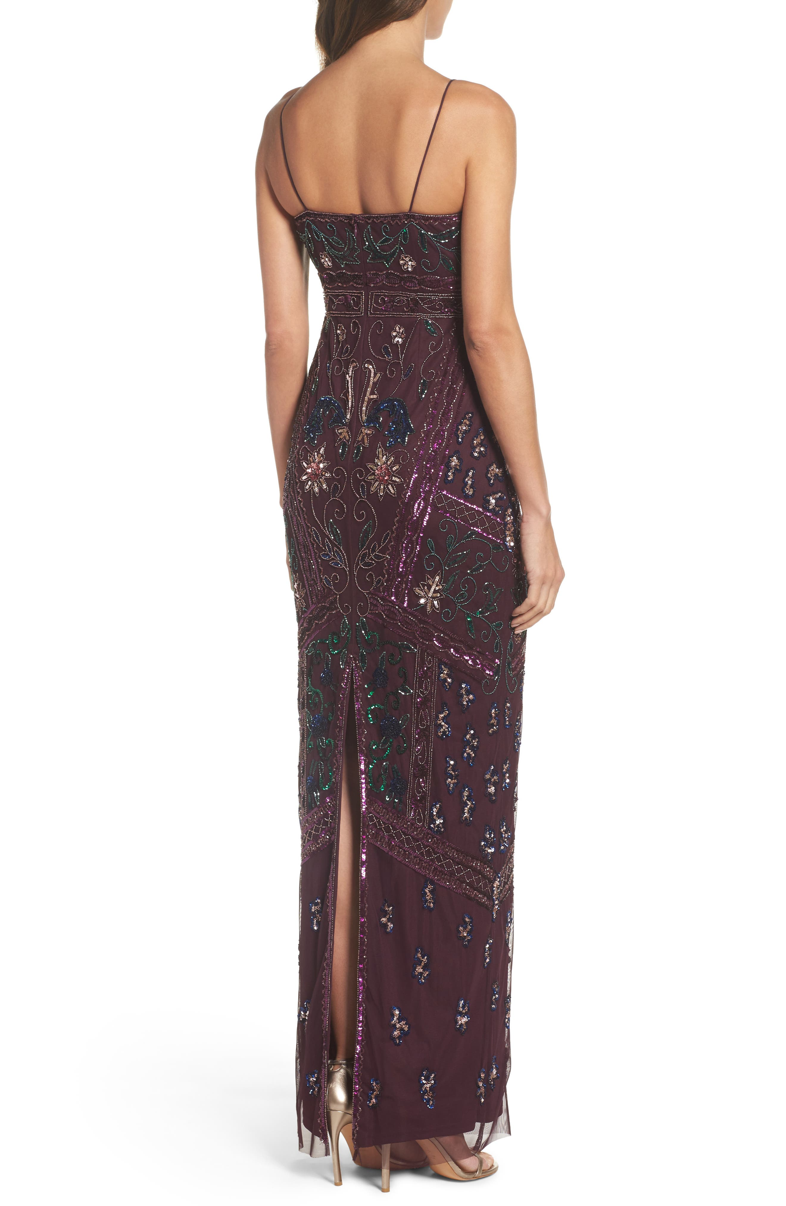 Alternate Image 2  - Adrianna Papell Floral Beaded Column Gown