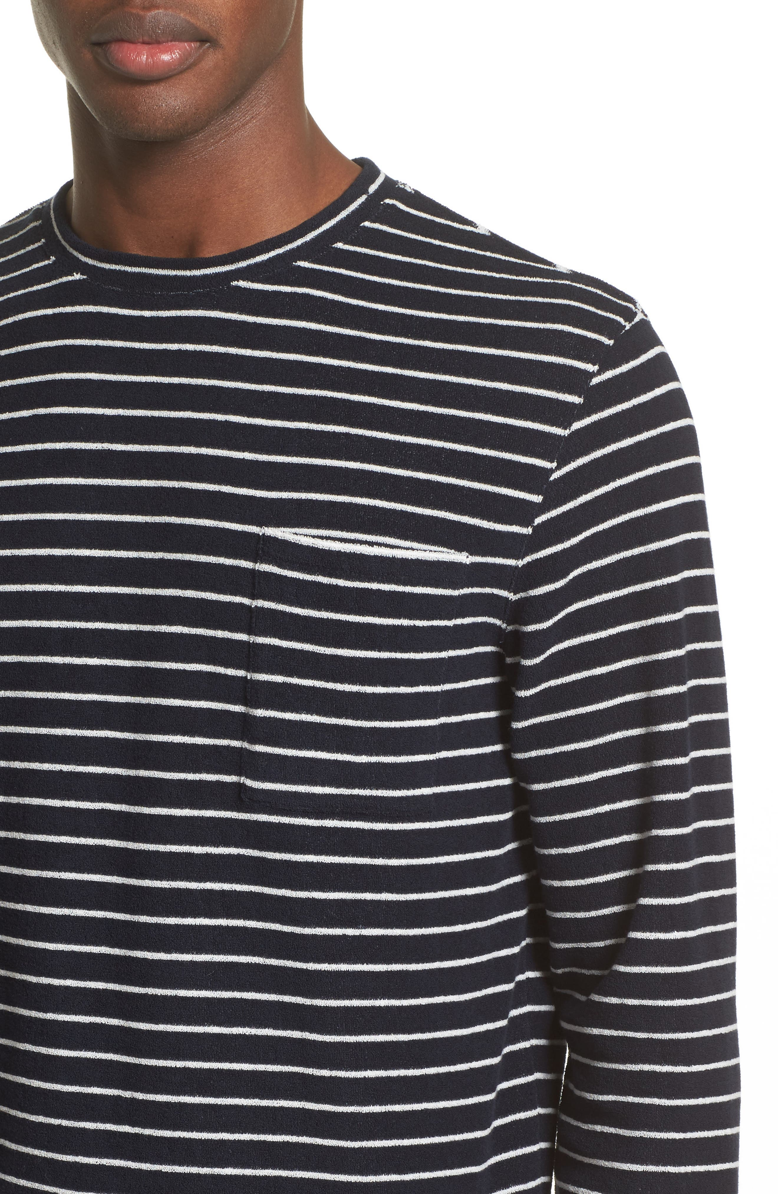 Yogi Striped Terry Sweatshirt,                             Alternate thumbnail 4, color,                             Dark Navy