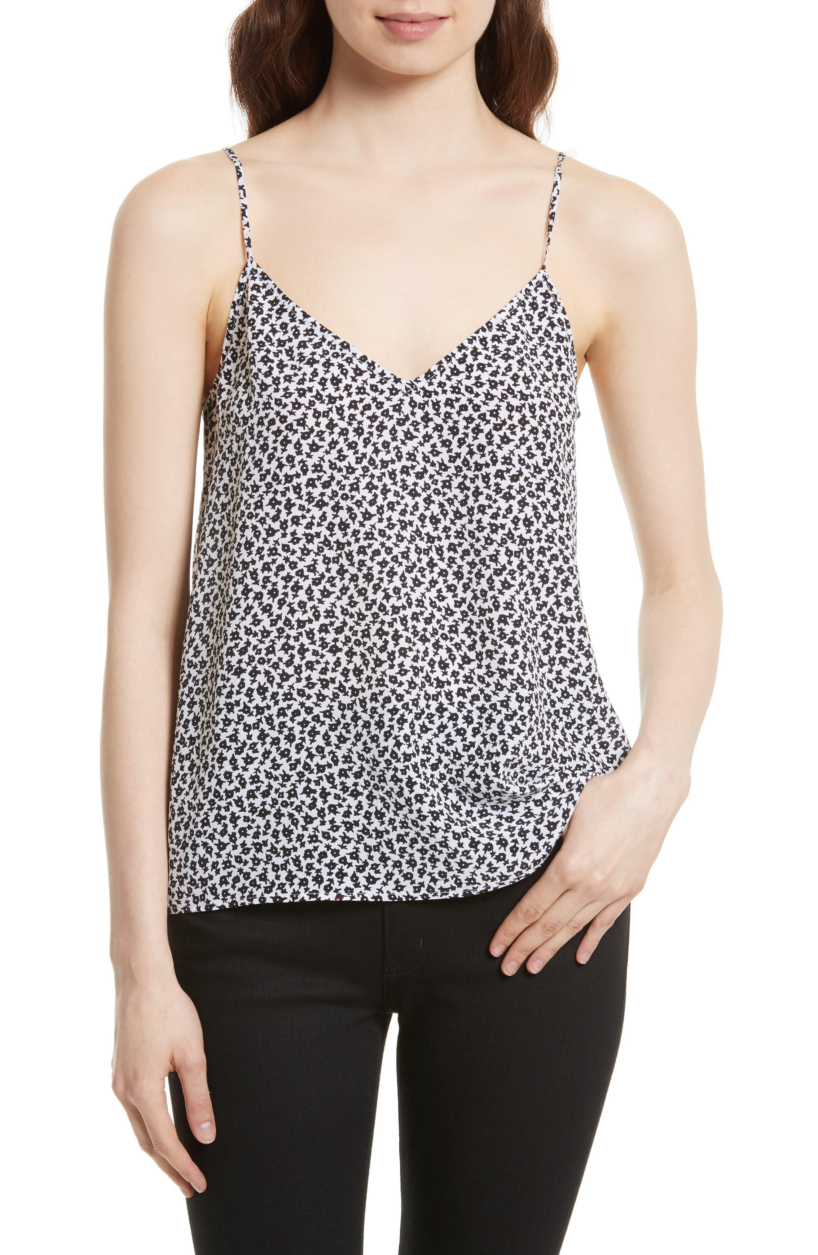 Layla Print Silk Camisole,                         Main,                         color, Bright White