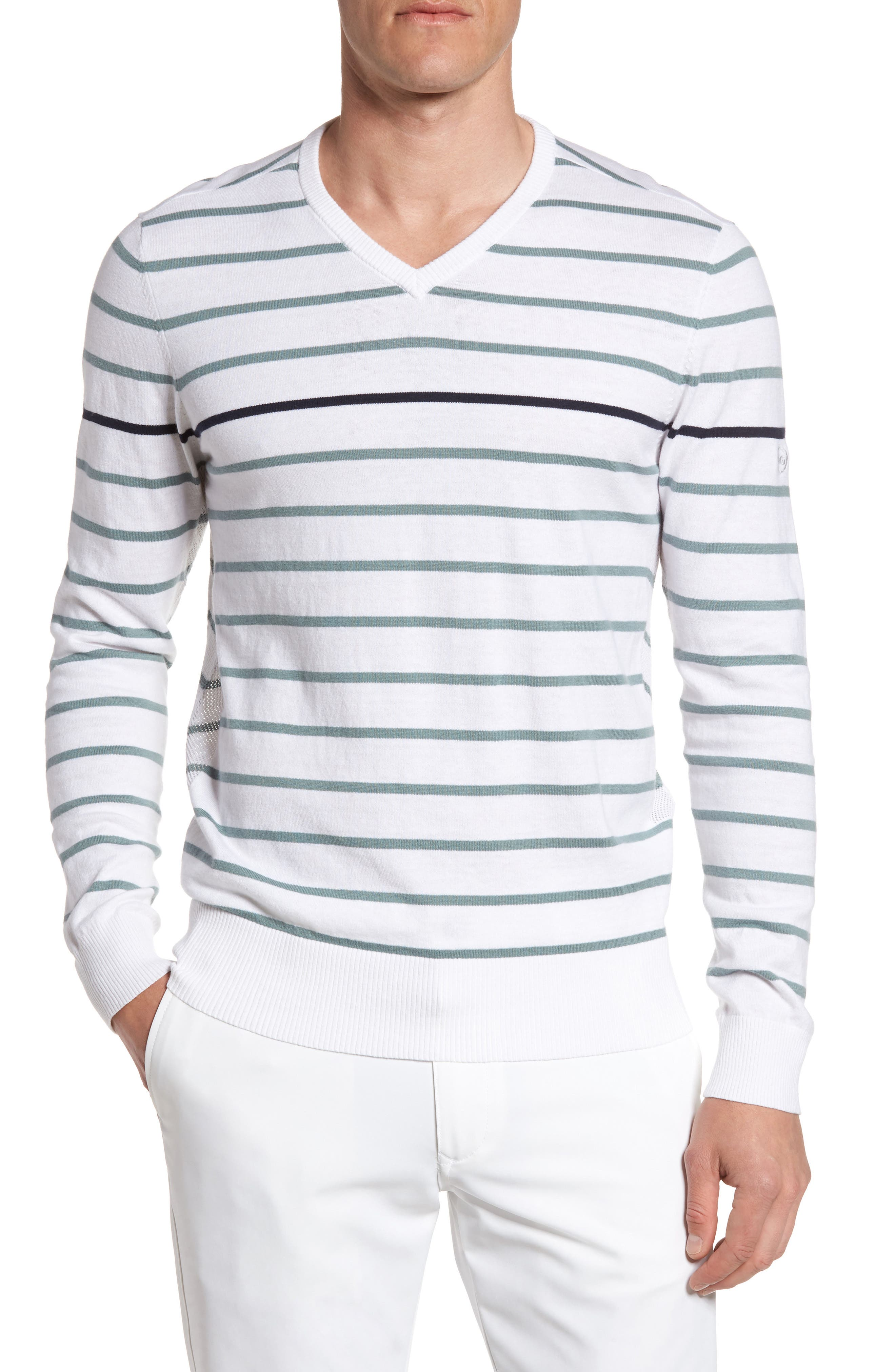 The Farrell Stripe V-Neck Sweater,                             Main thumbnail 1, color,                             White/ Agave Green/ Naval Blue
