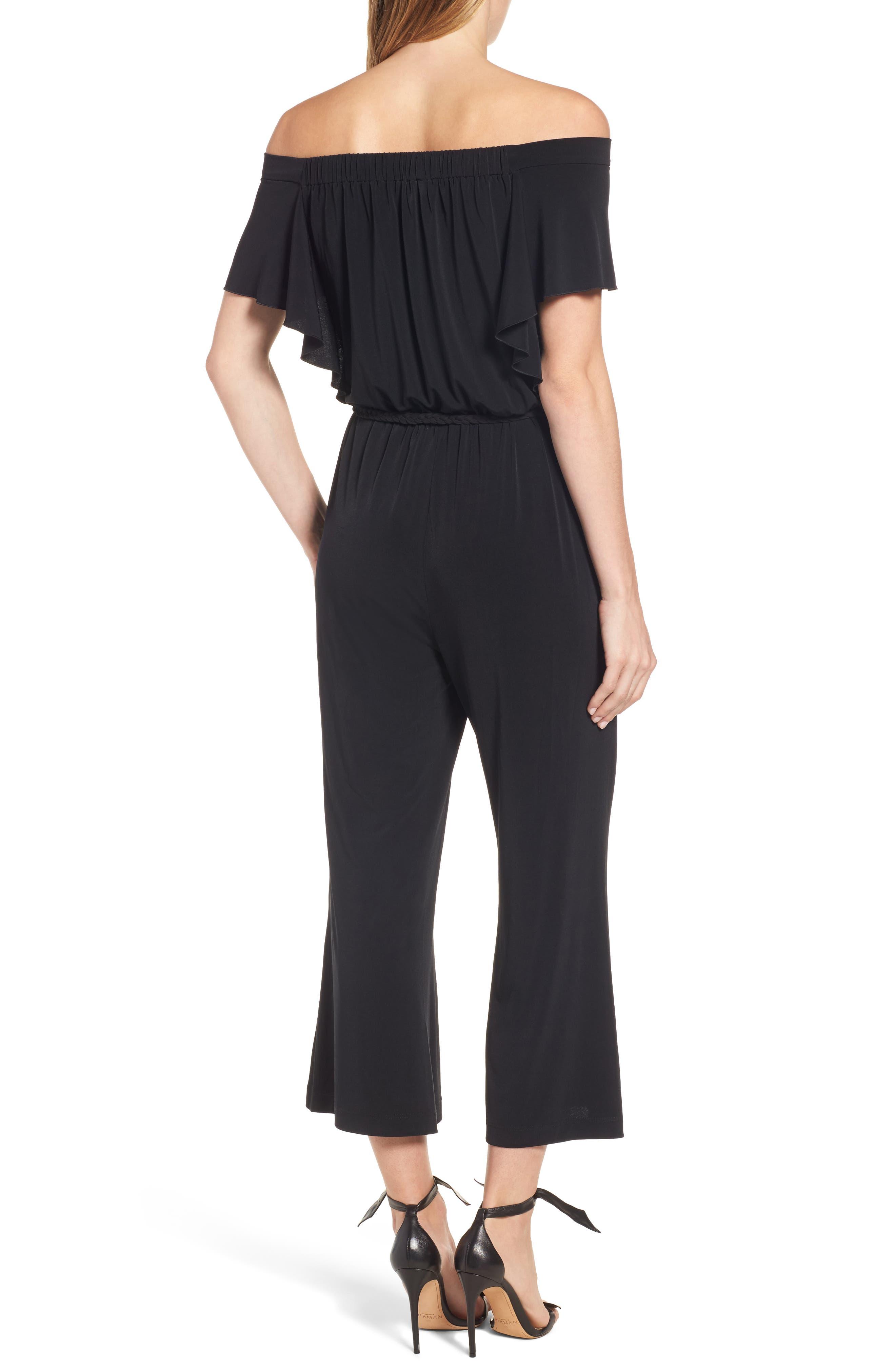 Shay Off the Shoulder Crop Jumpsuit,                             Alternate thumbnail 2, color,                             Black
