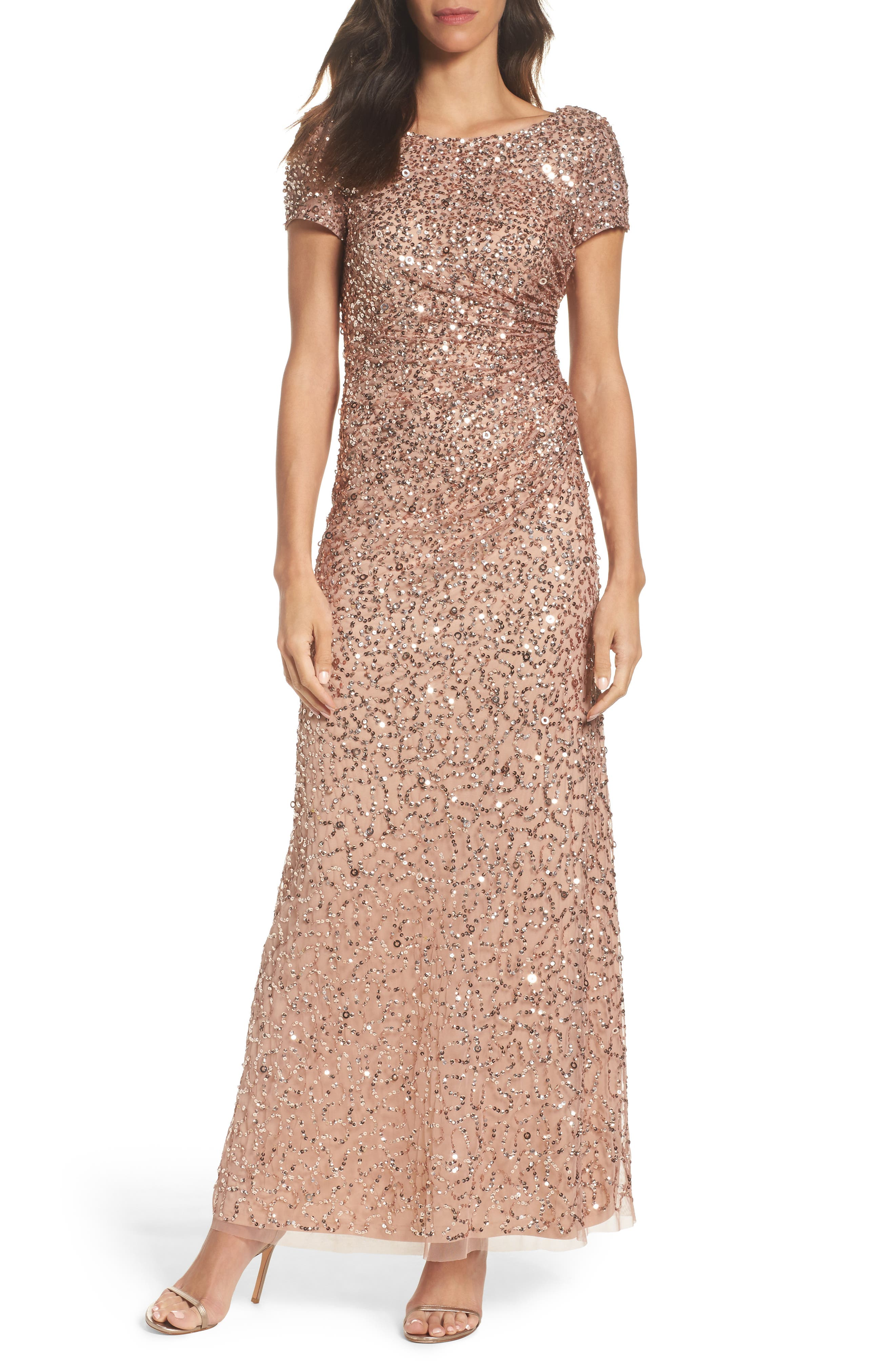 Main Image - Adrianna Papell Sequin Cowl Back Gown (Regular & Petite)