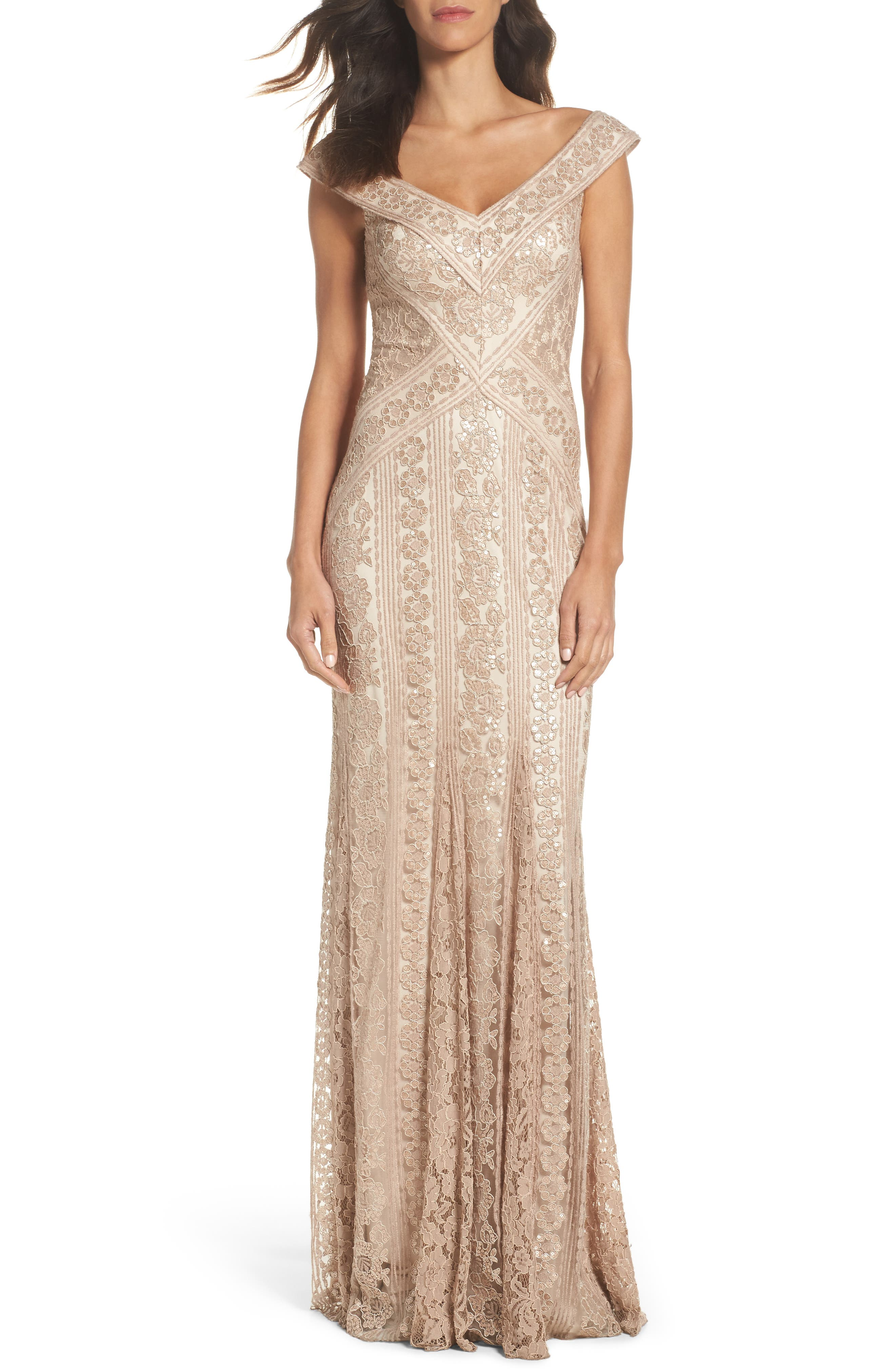 Sequin Gown,                             Main thumbnail 1, color,                             Champagne