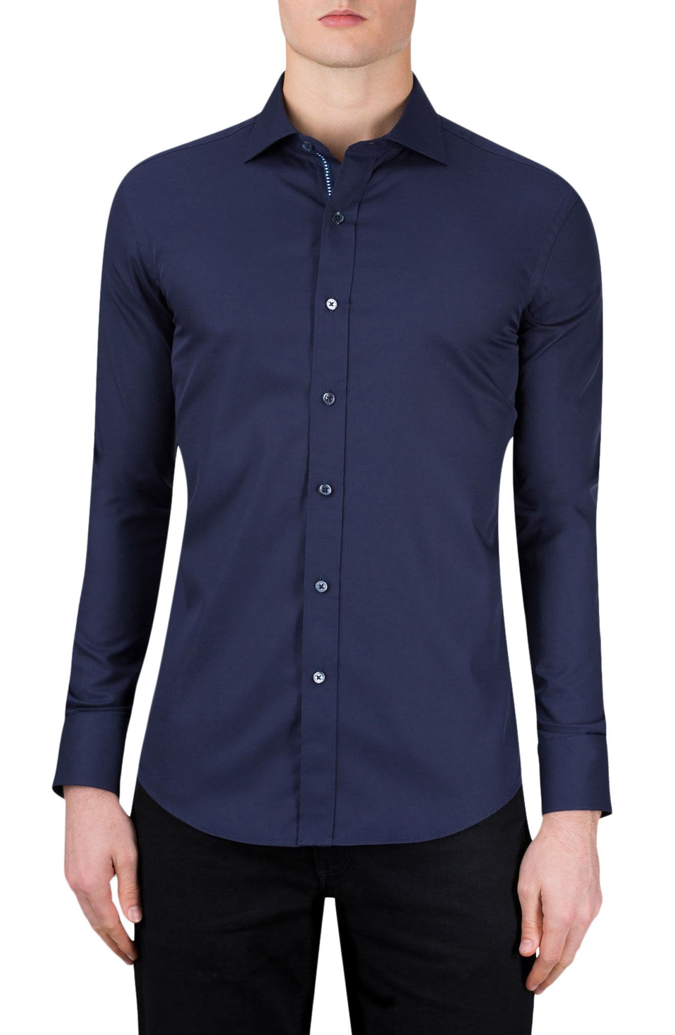 Classic Fit Sport Shirt,                         Main,                         color, Navy