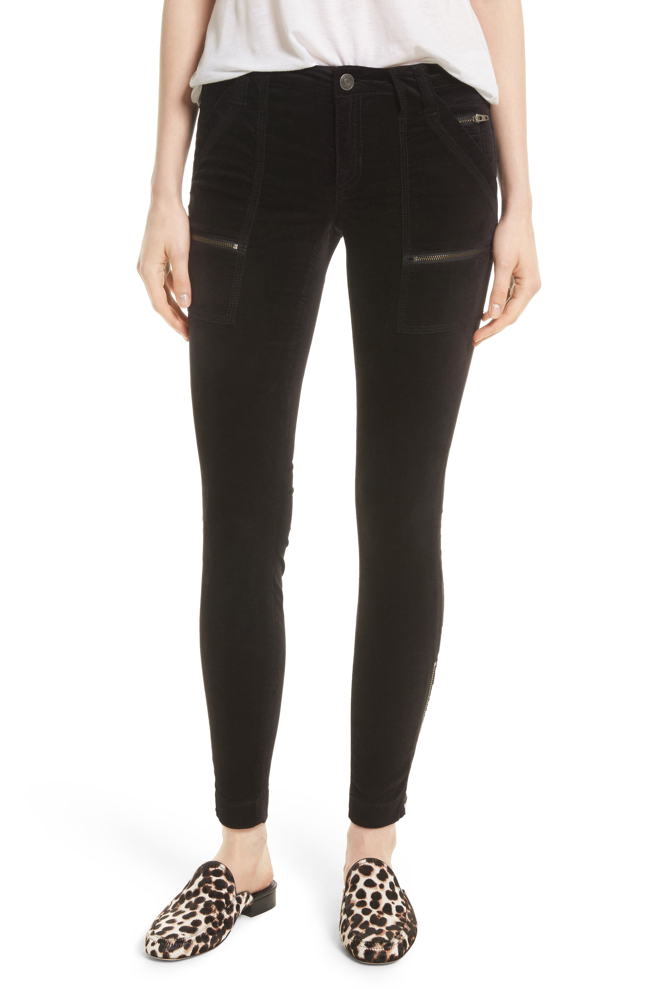 Park Stretch Cotton Skinny Pants,                         Main,                         color, Caviar