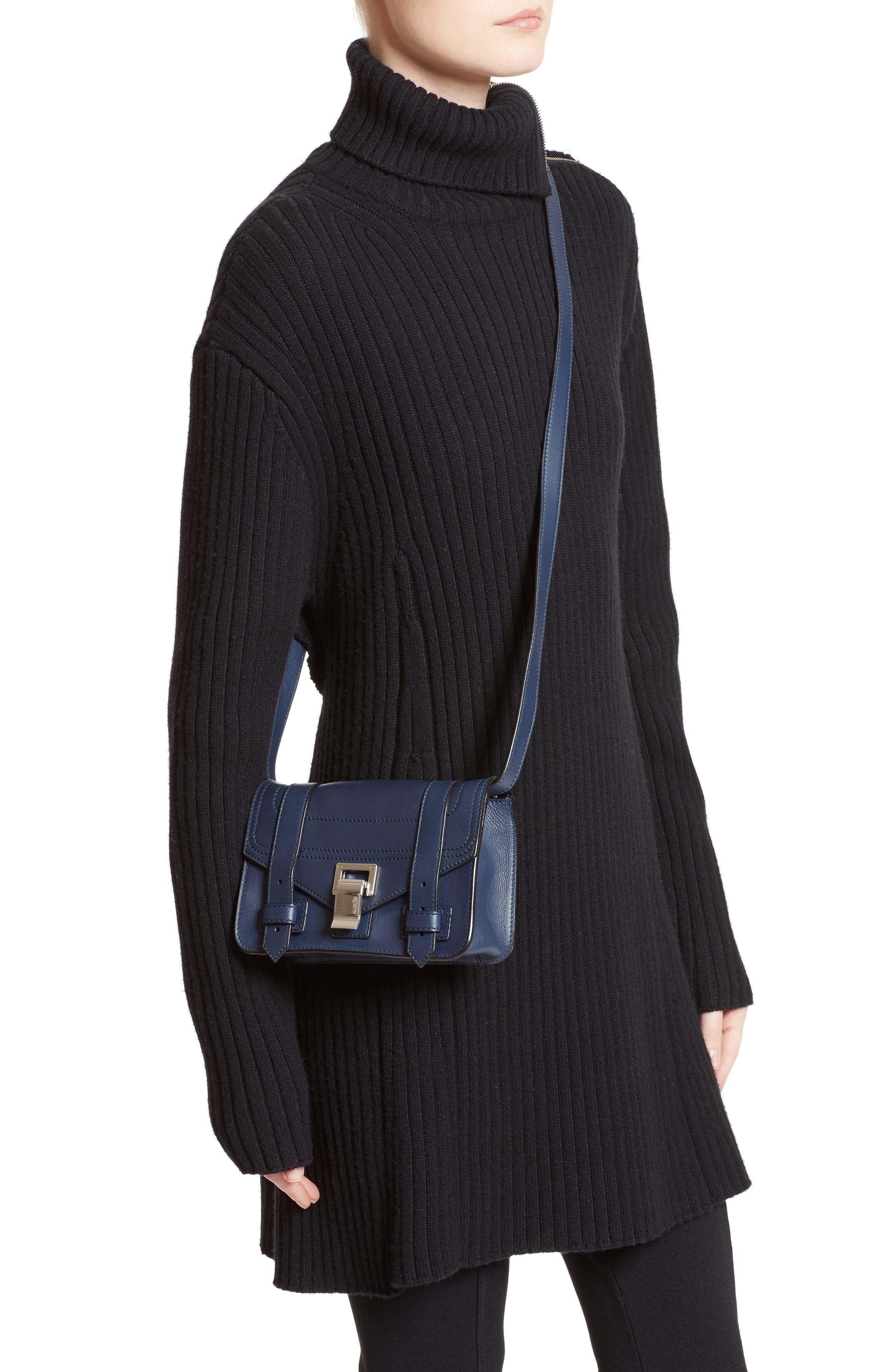 Mini PS1 Leather Crossbody Bag,                             Alternate thumbnail 2, color,                             Indigo