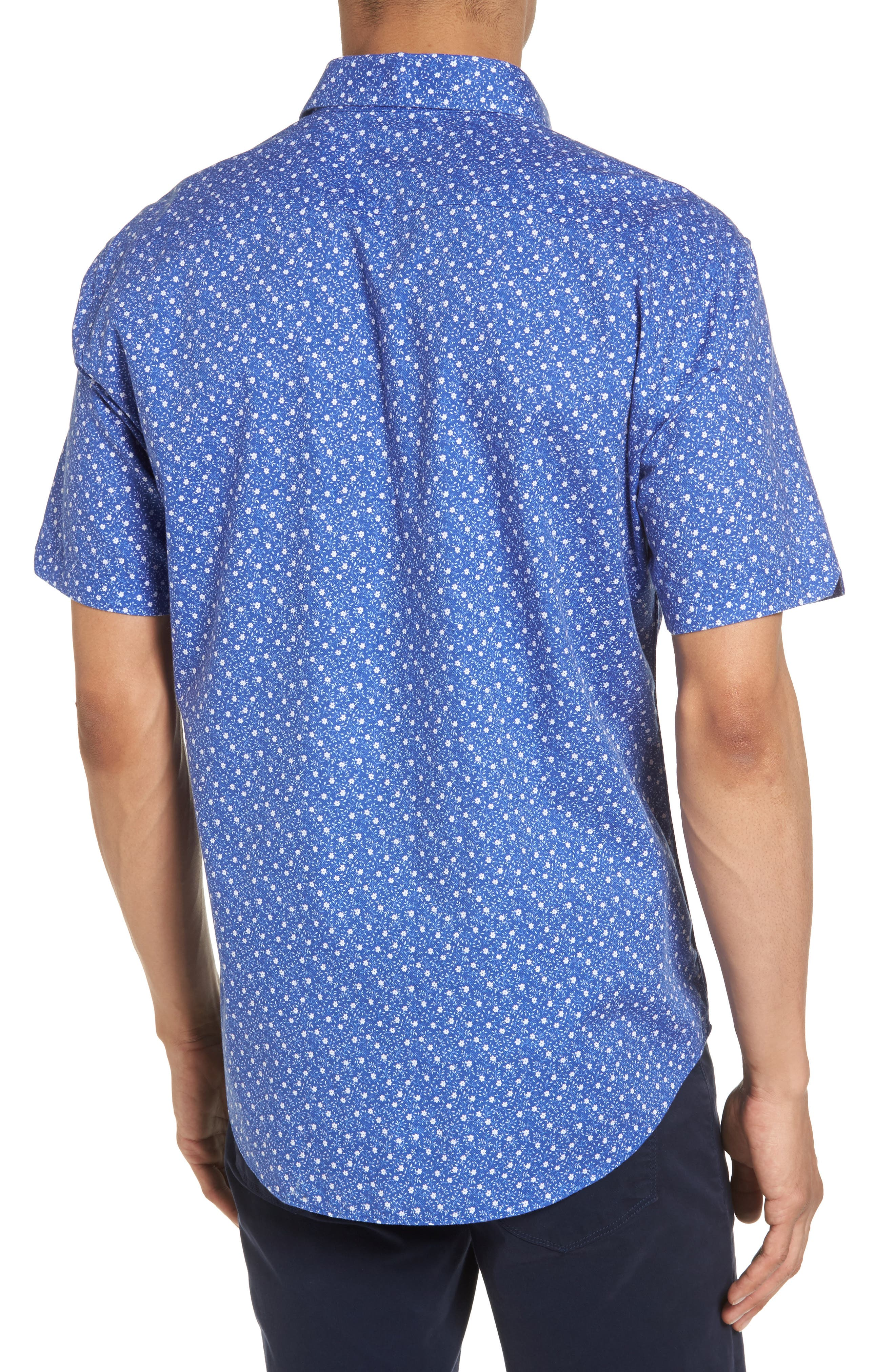 Floral Print Short Sleeve Sport Shirt,                             Alternate thumbnail 3, color,                             Blue