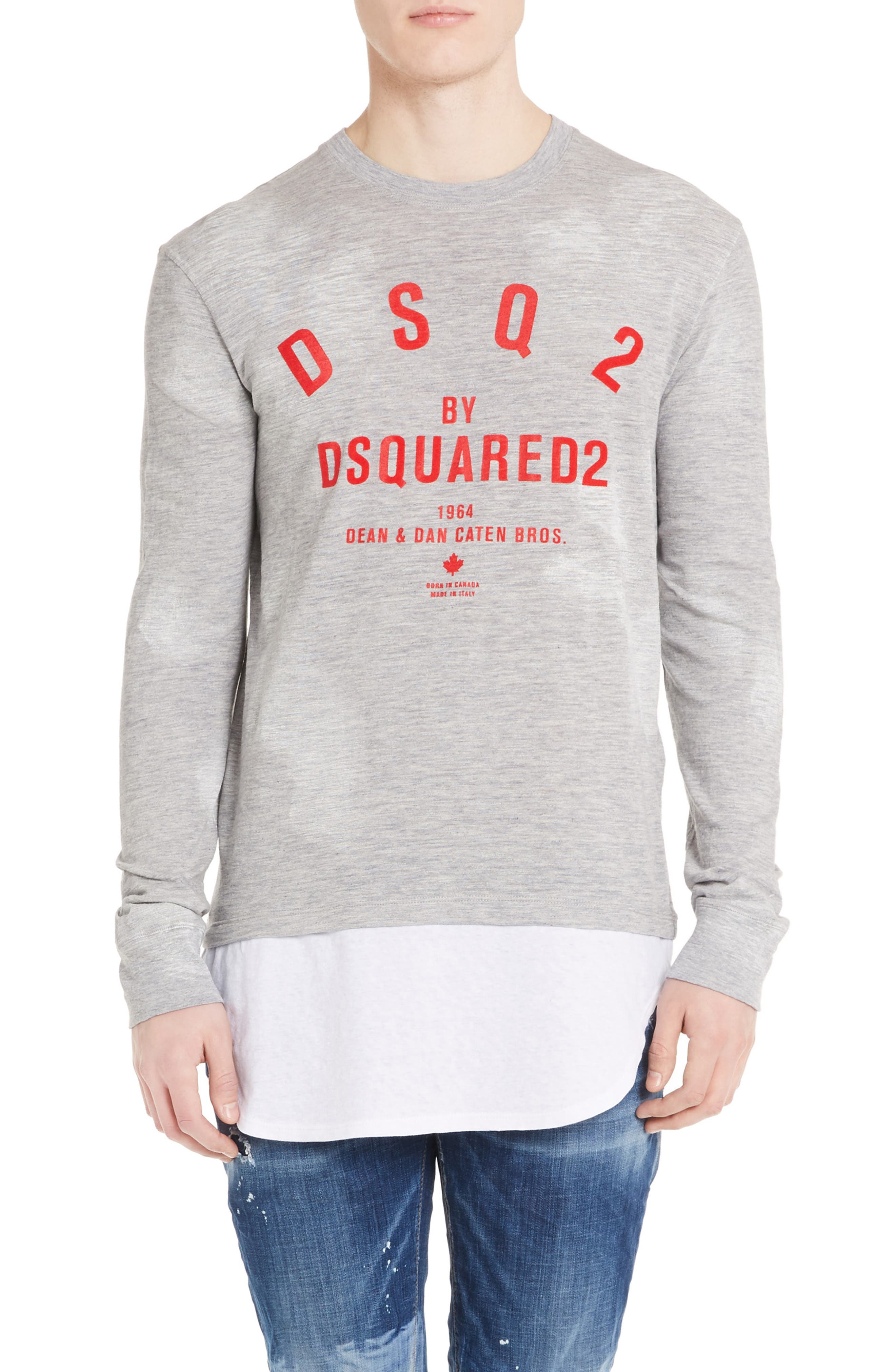 Logo Double Hem T-Shirt,                         Main,                         color, Grey Melange