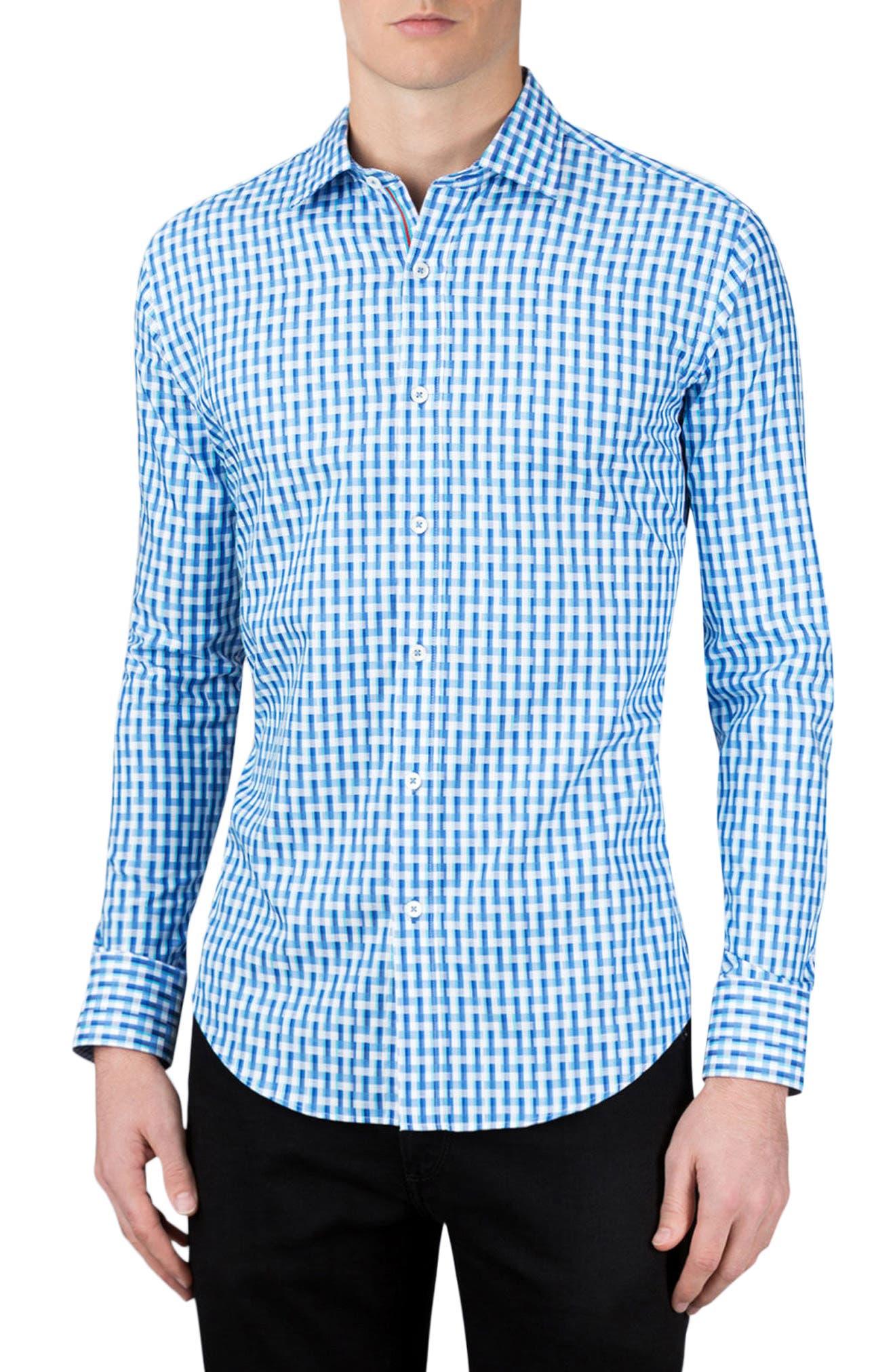 Shaped Fit Sport Shirt,                             Main thumbnail 1, color,                             Classic Blue