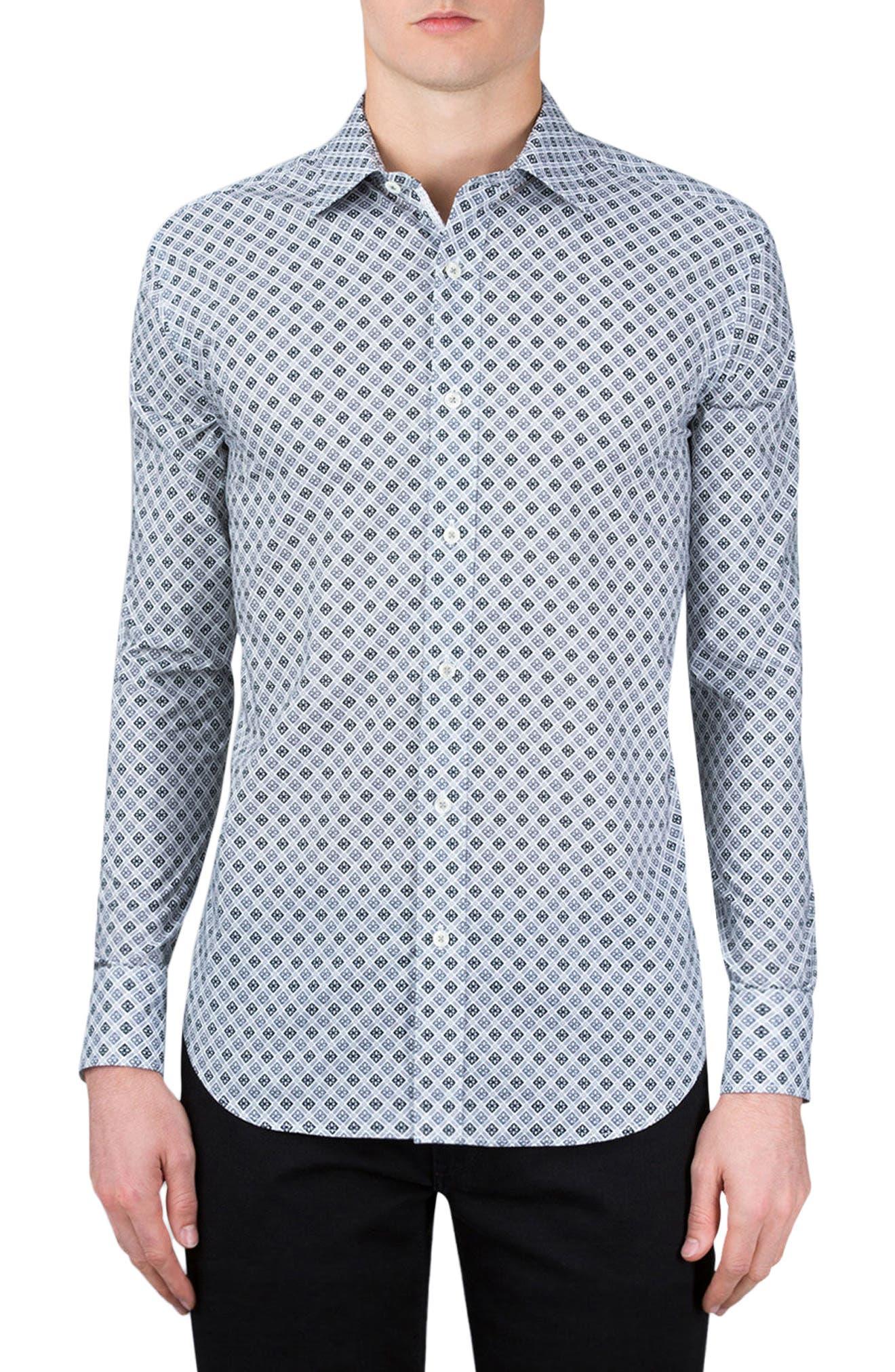 Shaped Fit Sport Shirt,                         Main,                         color, Platinum