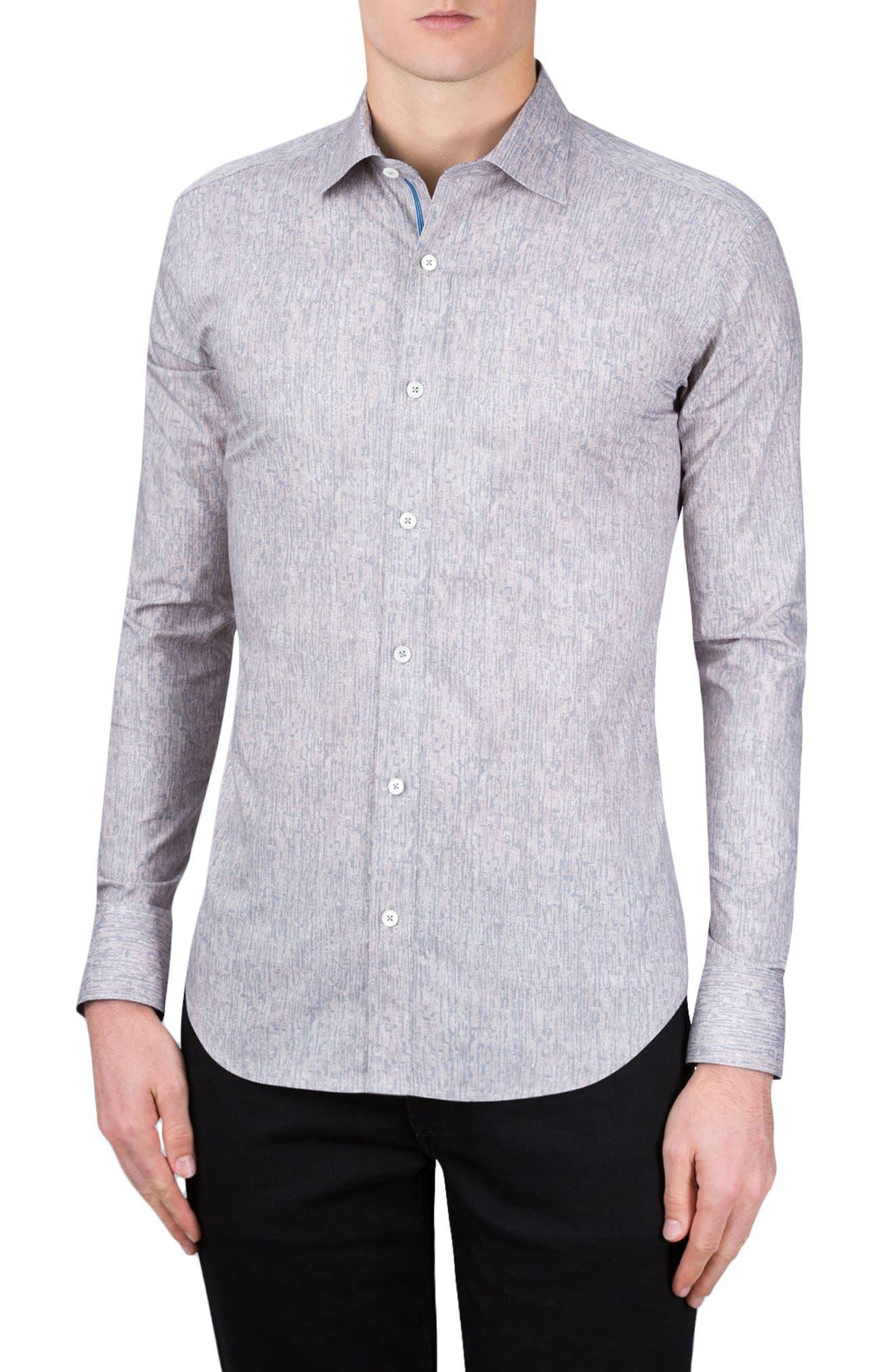 Shaped Fit Print Sport Shirt,                         Main,                         color, Stone