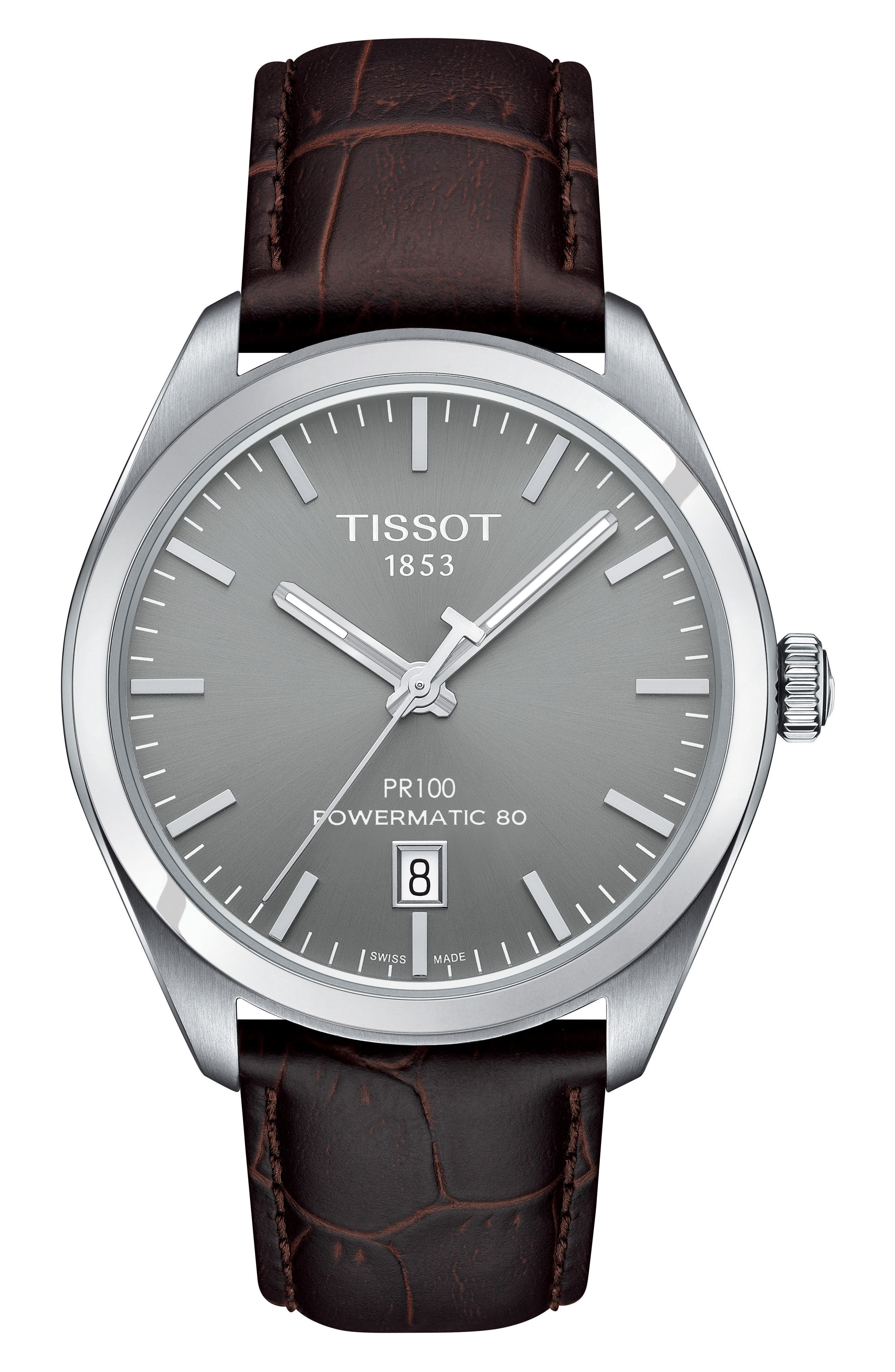 Tissot PR100 Automatic Leather Strap Watch, 39mm