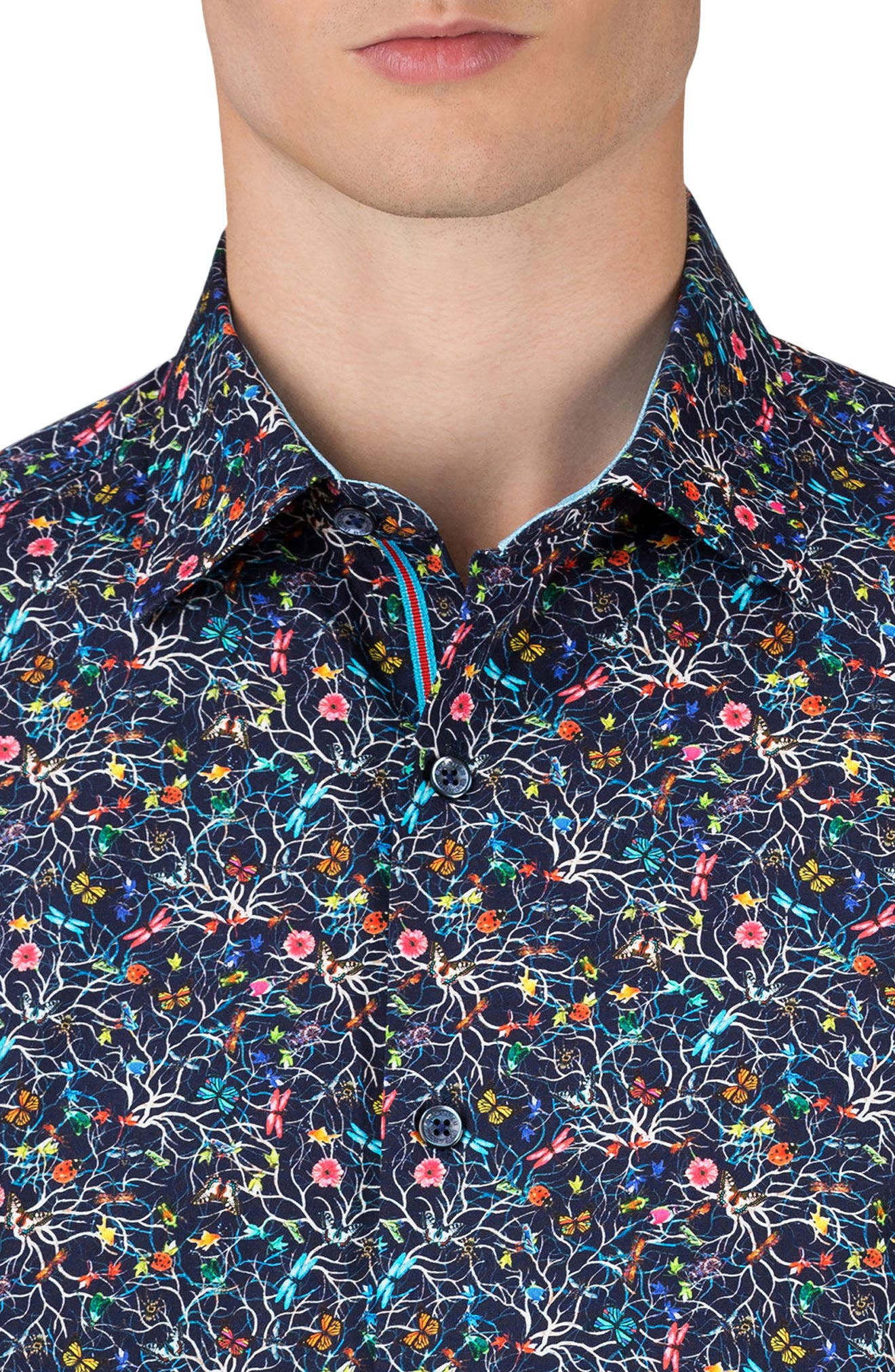 Shaped Fit Print Sport Shirt,                             Alternate thumbnail 3, color,                             Midnight