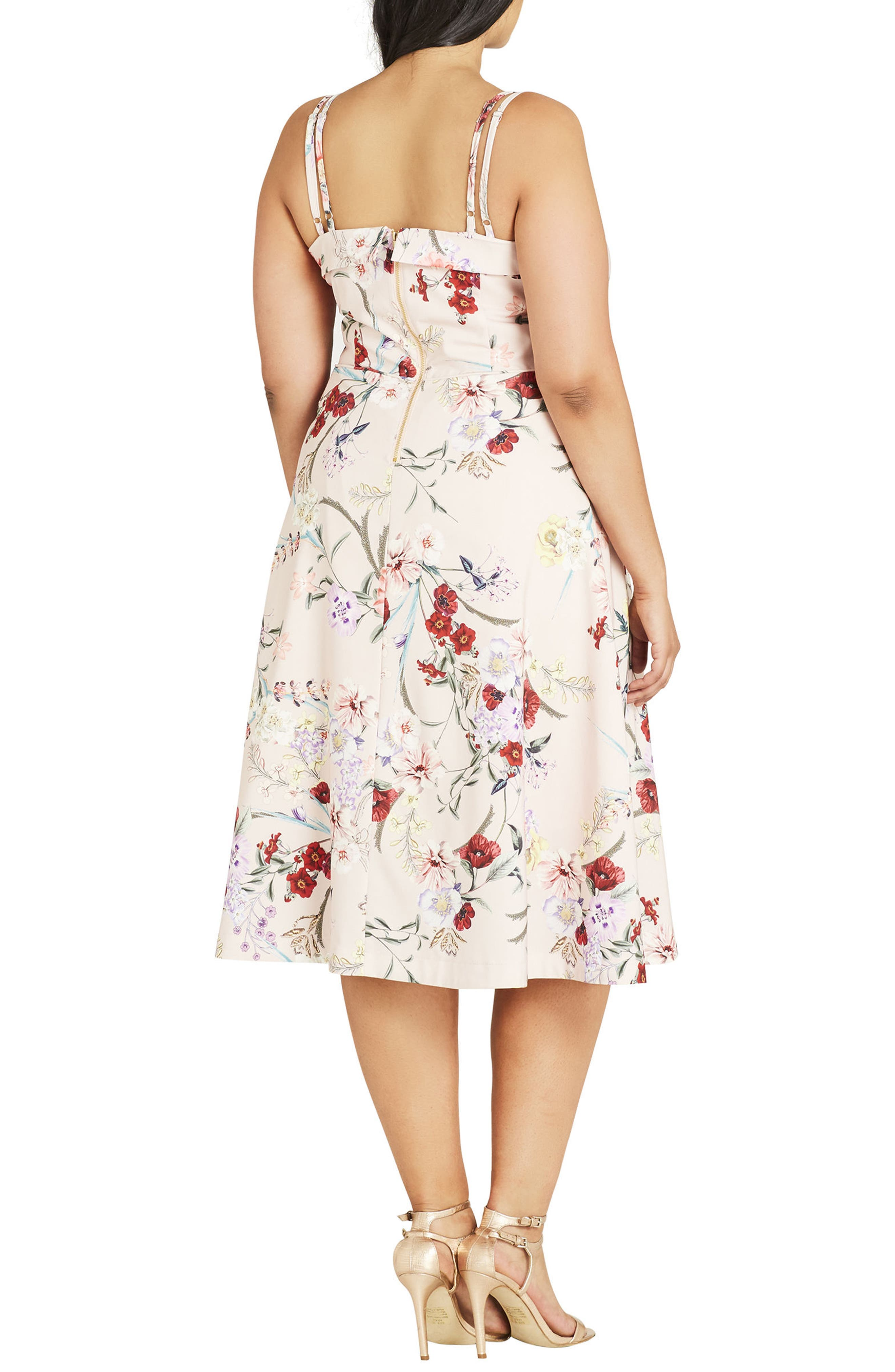 Alternate Image 2  - City Chic Daytime Diva Fit & Flare Dress (Plus Size)