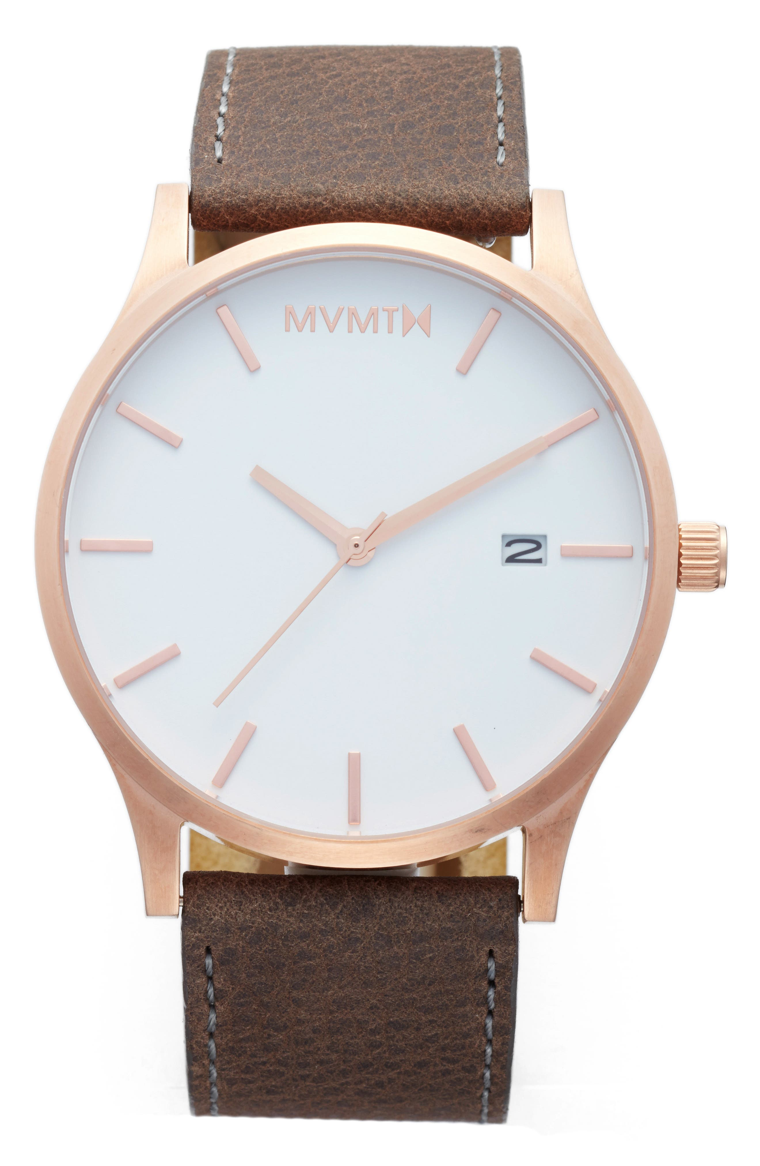 The Classic Leather Strap Watch, 45mm,                         Main,                         color, Charcoal/ Brown