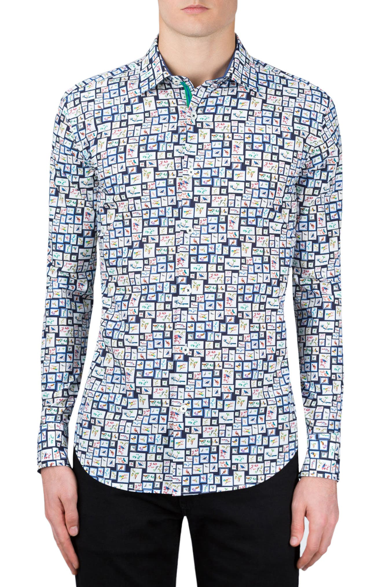 Shaped Fit Print Sport Shirt,                             Main thumbnail 1, color,                             Navy