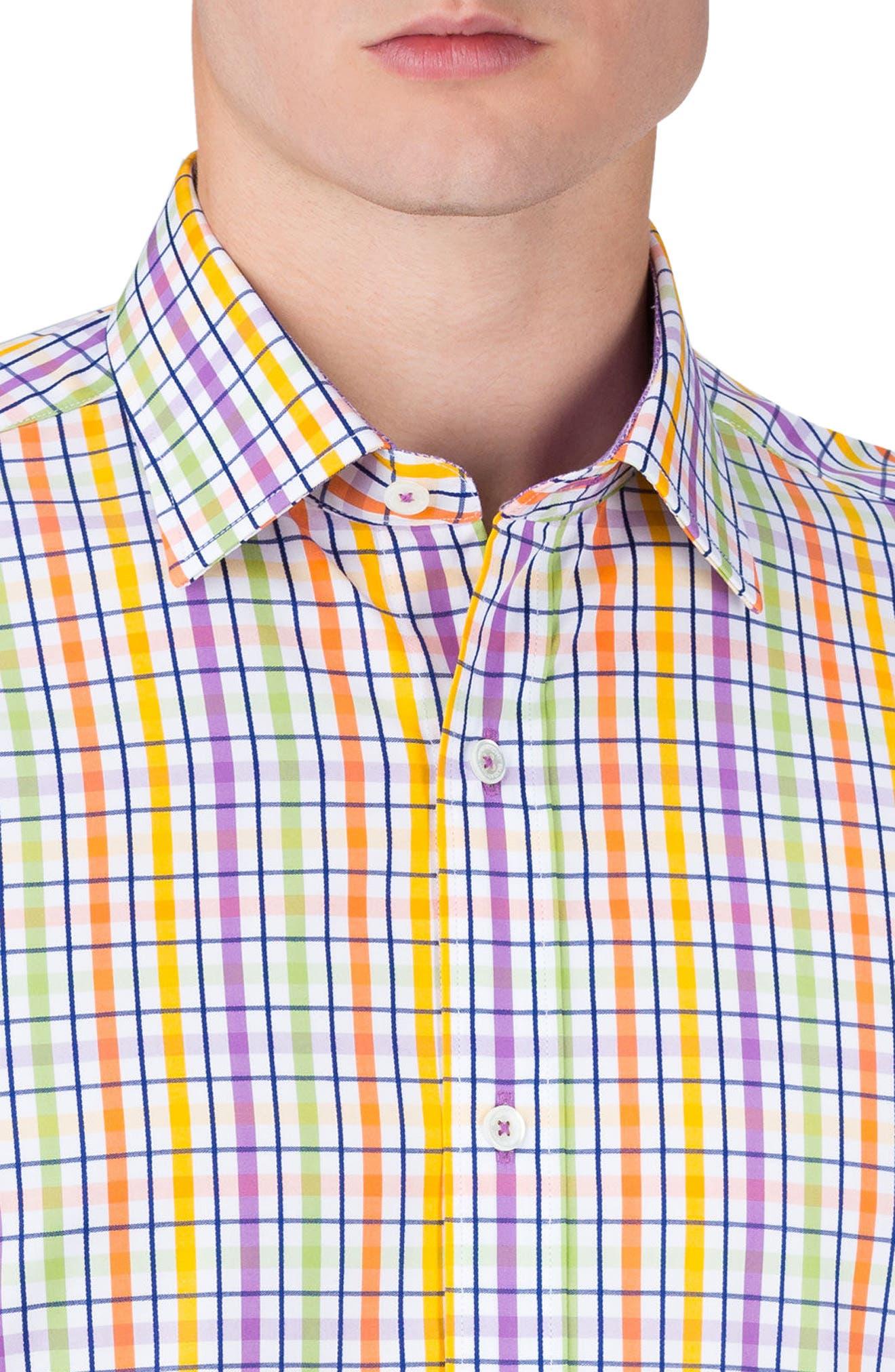 Shaped Fit Check Sport Shirt,                             Alternate thumbnail 3, color,                             Paradise