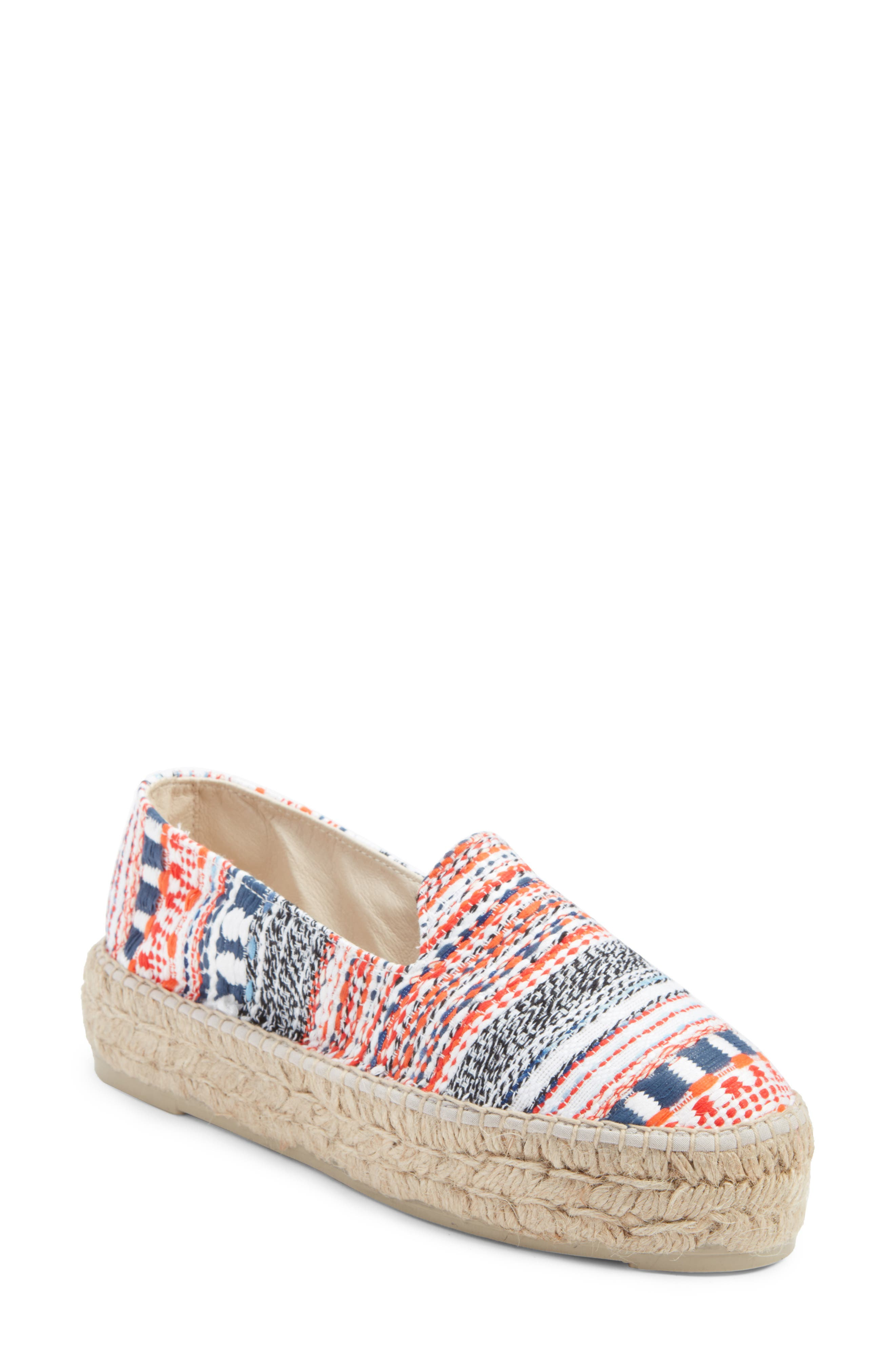 MANEBÍ Yucatan Platform Espadrille Slip-On,                             Main thumbnail 1, color,                             Red And Blue