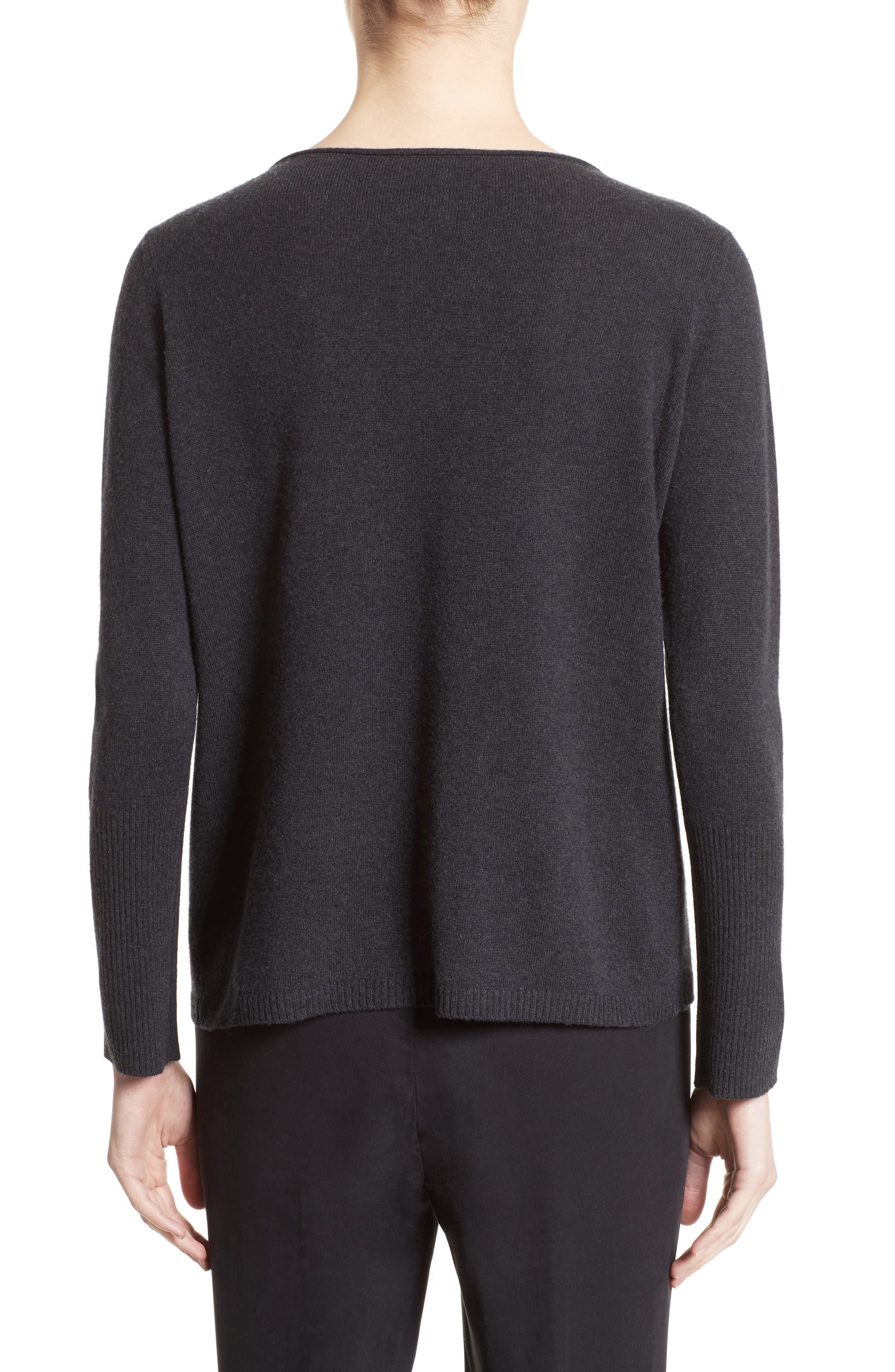 Wool, Silk & Cashmere Boatneck Sweater,                             Alternate thumbnail 2, color,                             Charcoal Navy