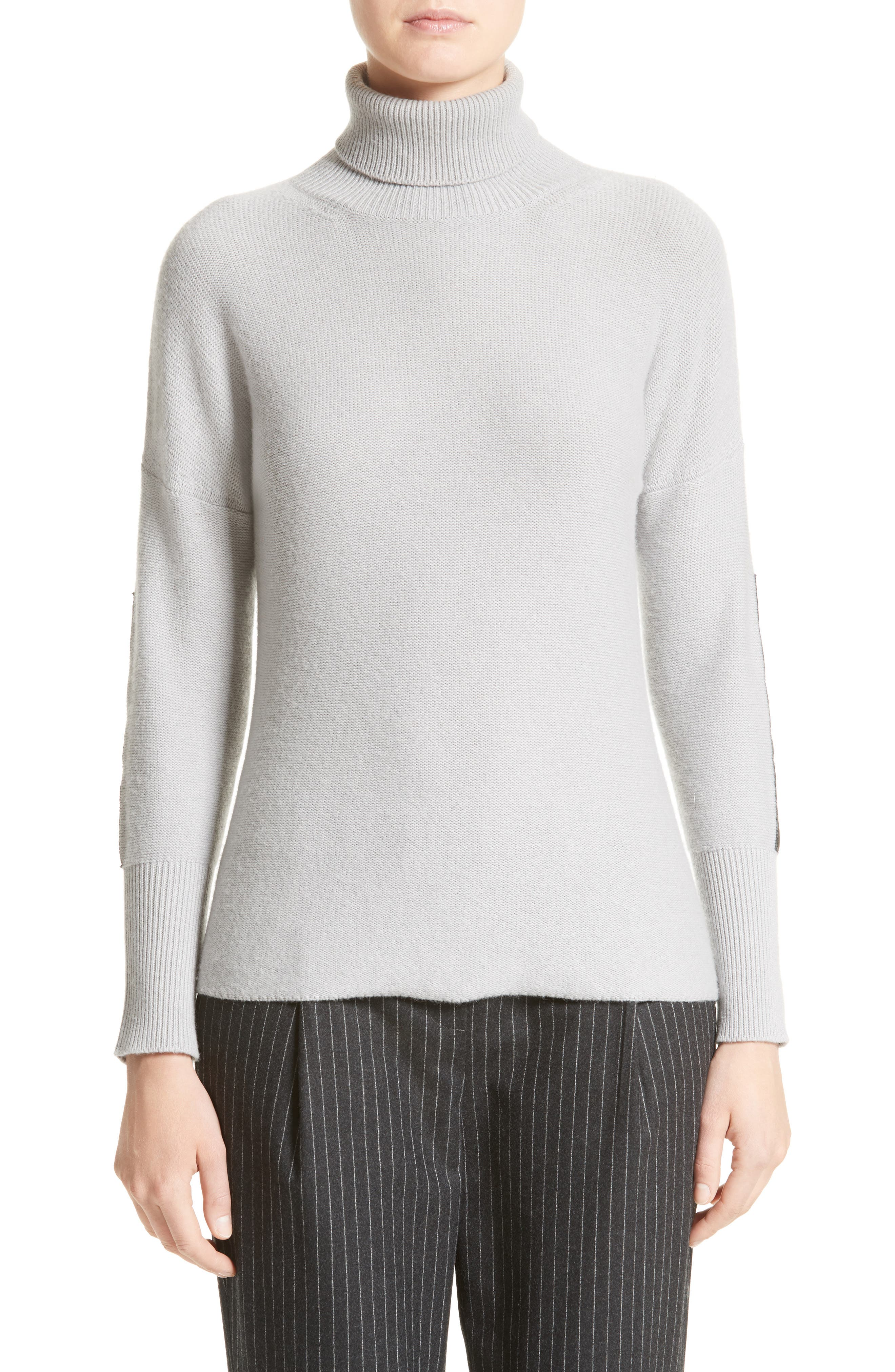 Wool, Silk & Cashmere Knit Turtleneck,                         Main,                         color, Ice