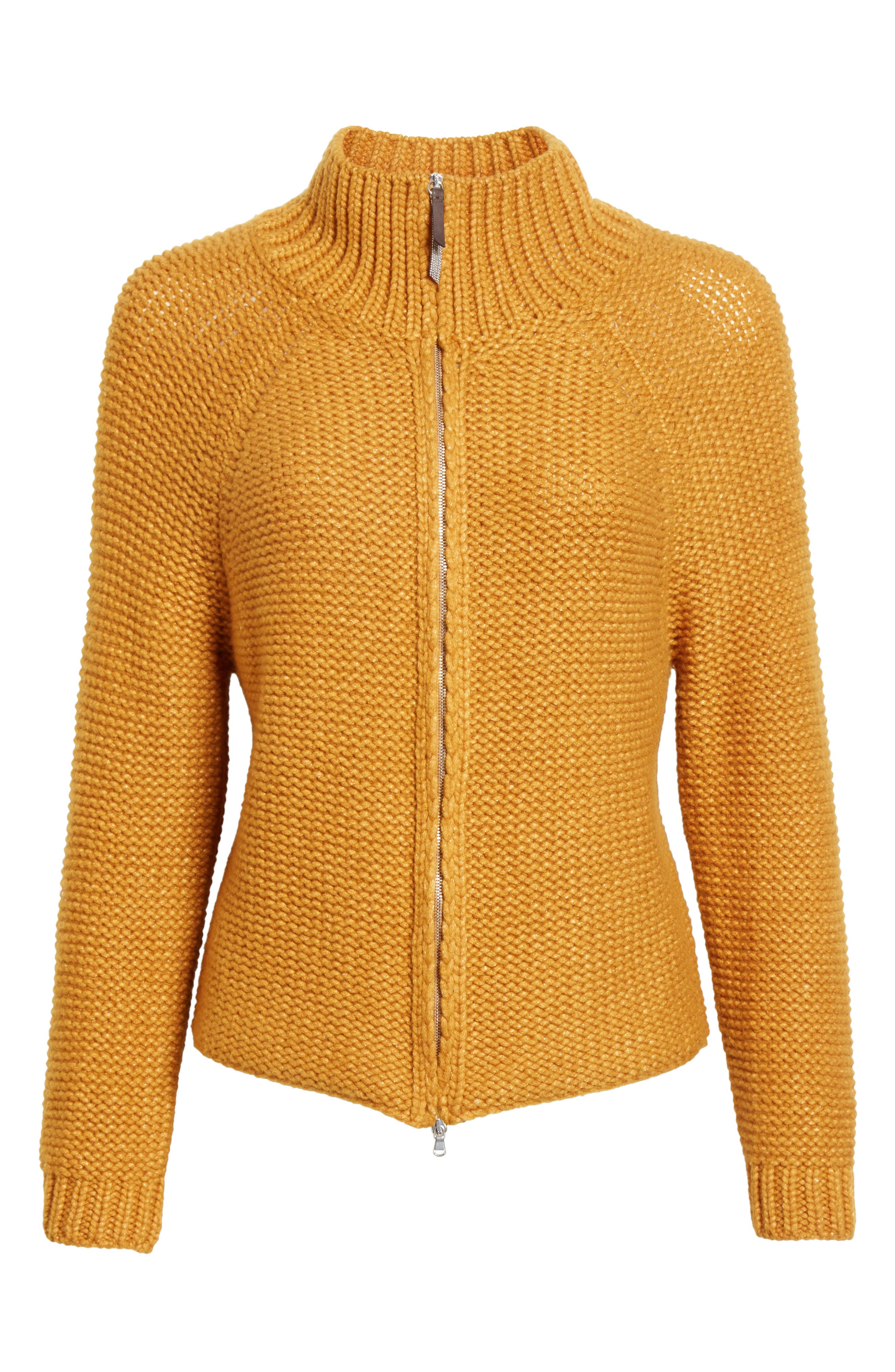 Knit Wool Blend Cardigan,                             Alternate thumbnail 4, color,                             Amber