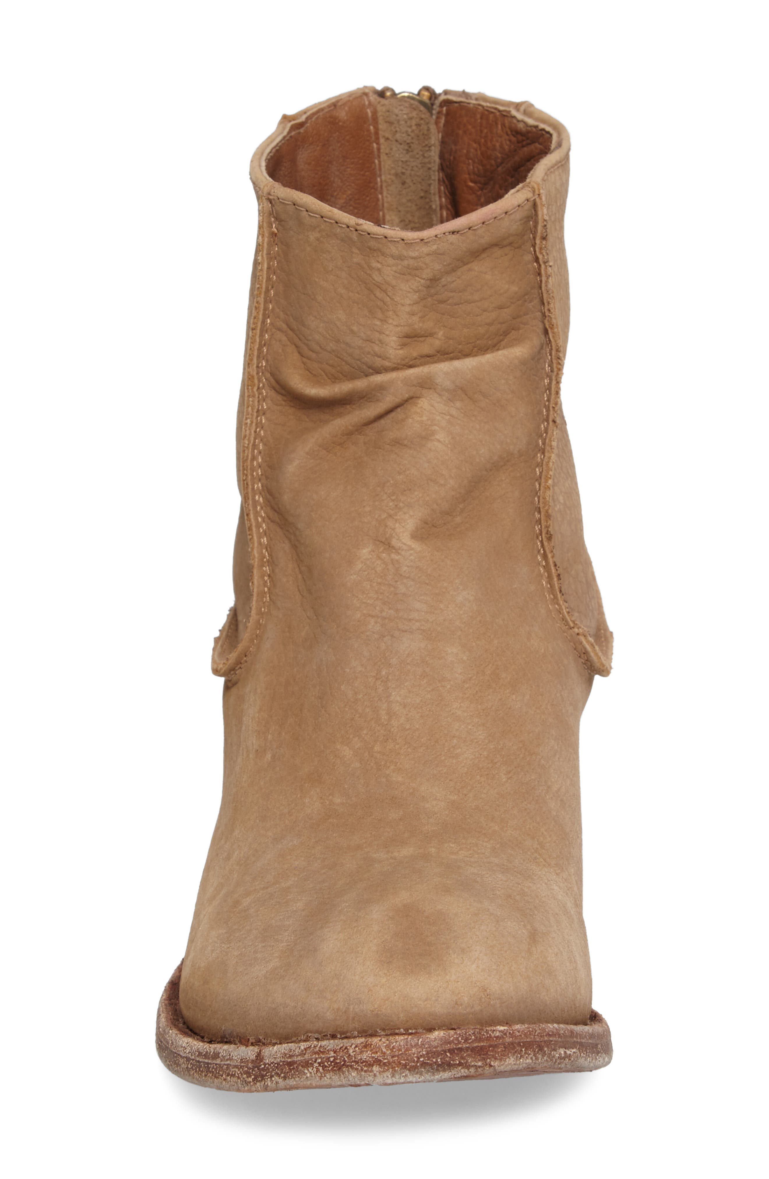 'Gerald' Distressed Bootie,                             Alternate thumbnail 4, color,                             Natural Leather