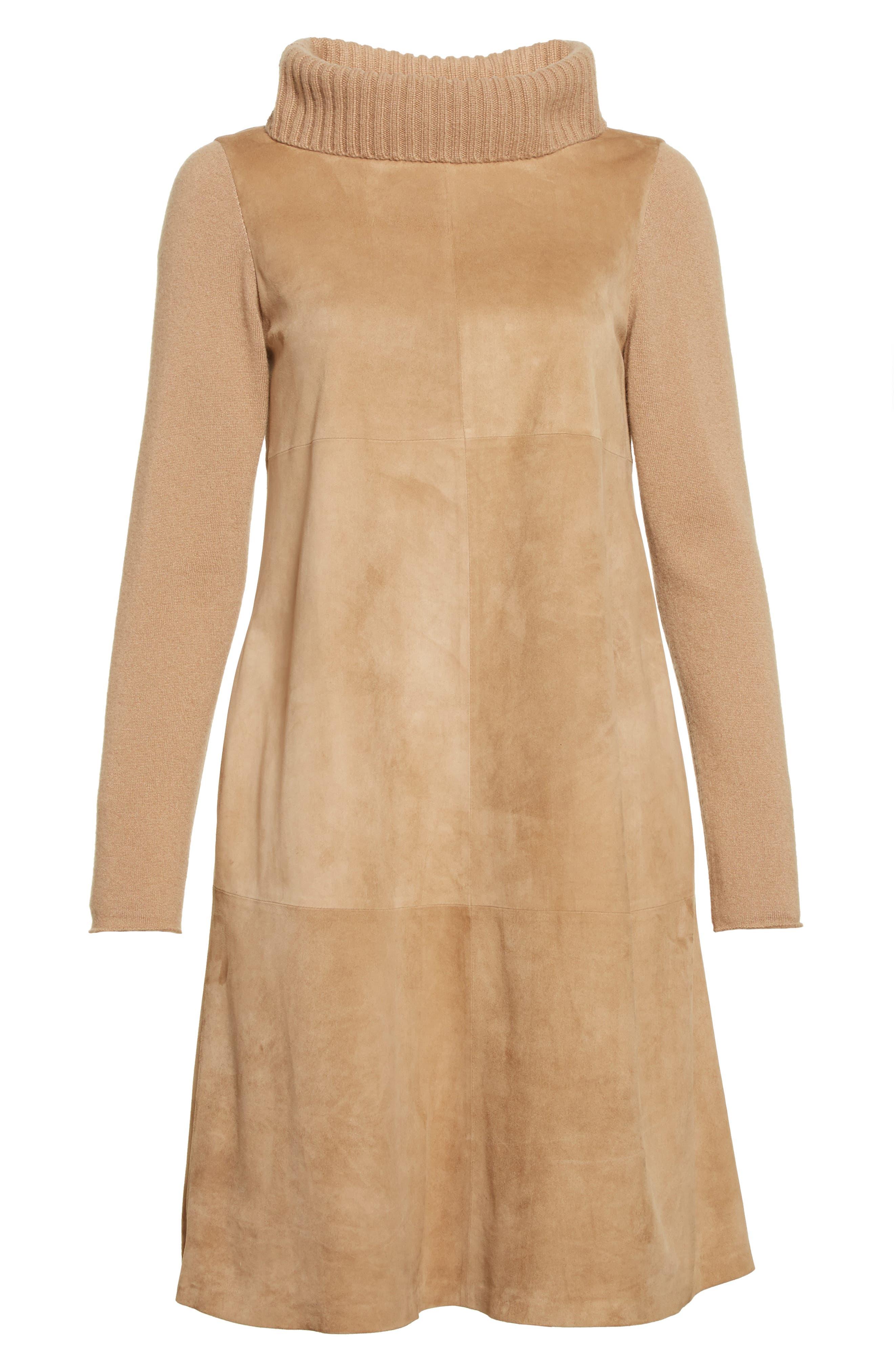 Suede & Cashmere Dress,                             Alternate thumbnail 4, color,                             Camel